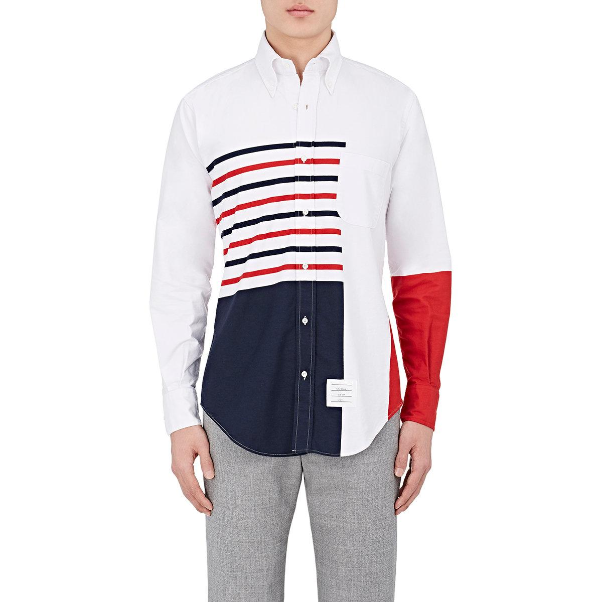 Thom browne striped cotton oxford shirt in white for men for Thom browne shirt sale