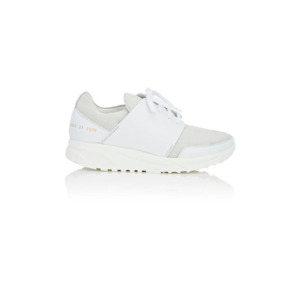 common projects track suede leather sneakers in white lyst. Black Bedroom Furniture Sets. Home Design Ideas