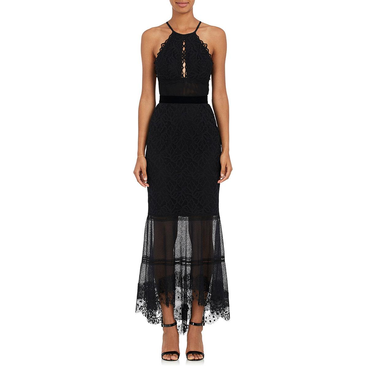 lyst sophia kah backless lace cocktail dress in black