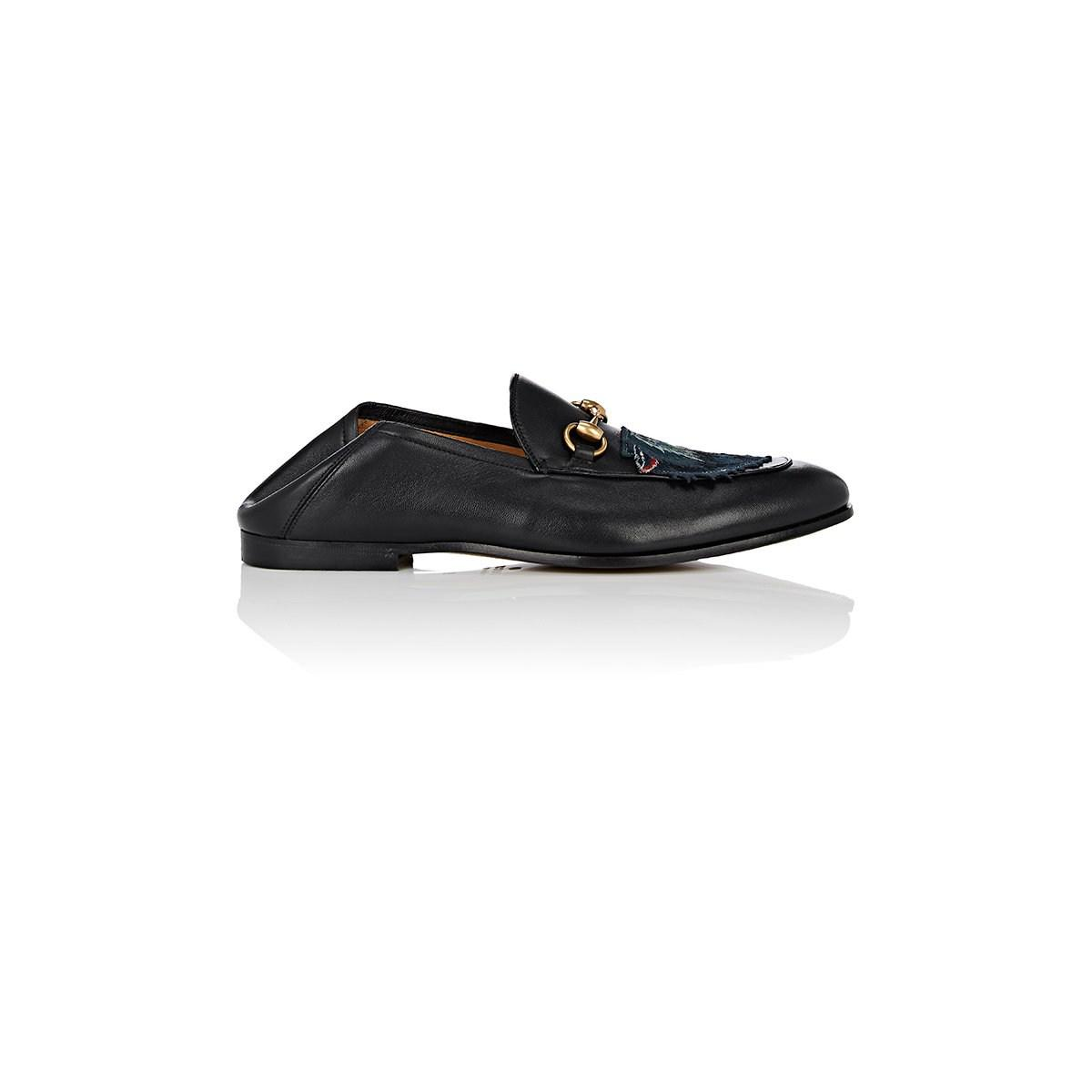 eb8eb27da39 Gucci Wolf-embroidered Leather Loafers in Black for Men - Lyst