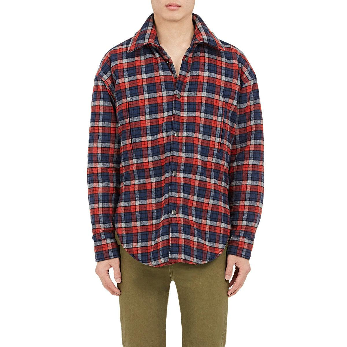 Lyst Balenciaga Plaid Cotton Flannel Shirt Jacket In Red