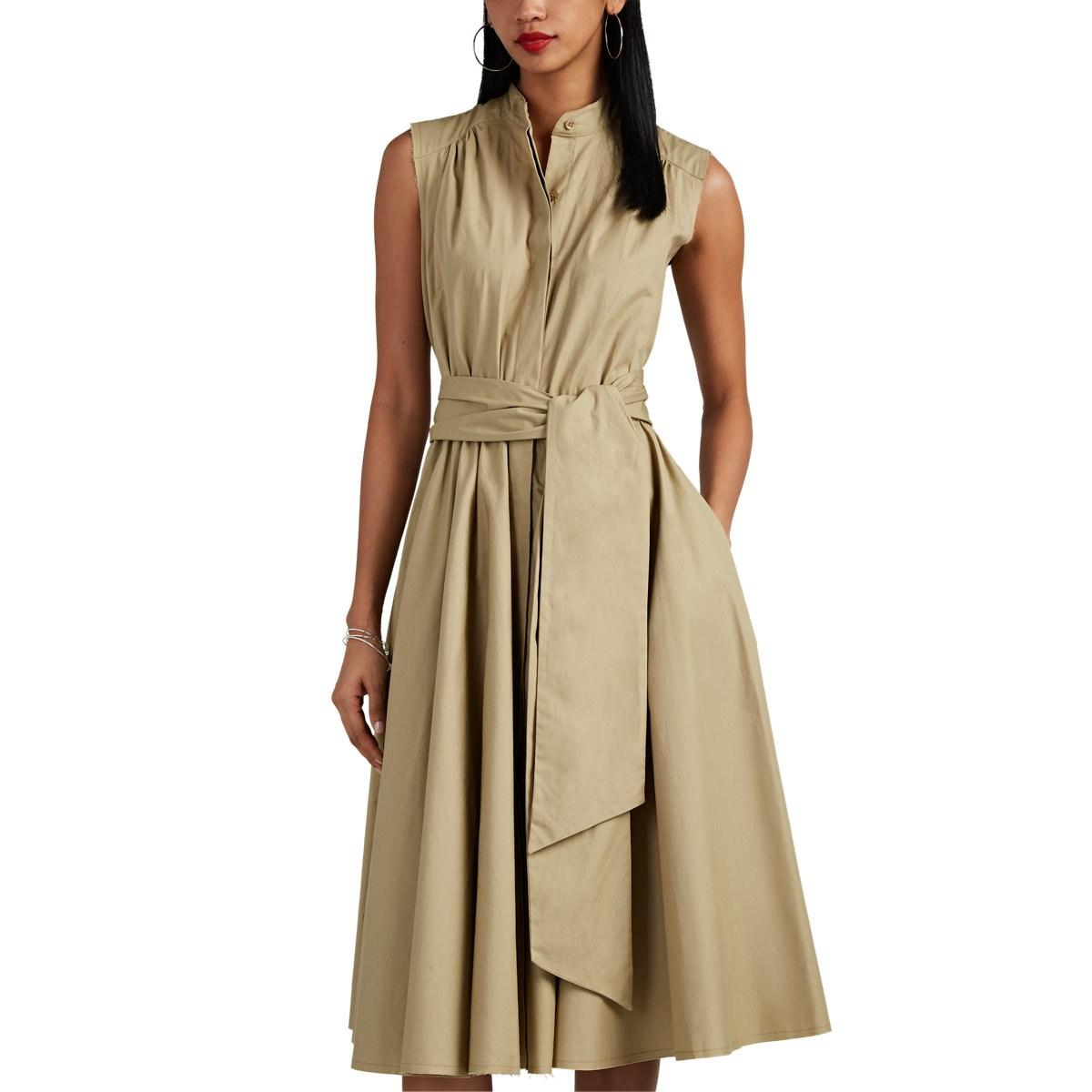 a971739630c Barneys New York. Women s Natural Pleated Cotton Poplin Belted Midi-dress