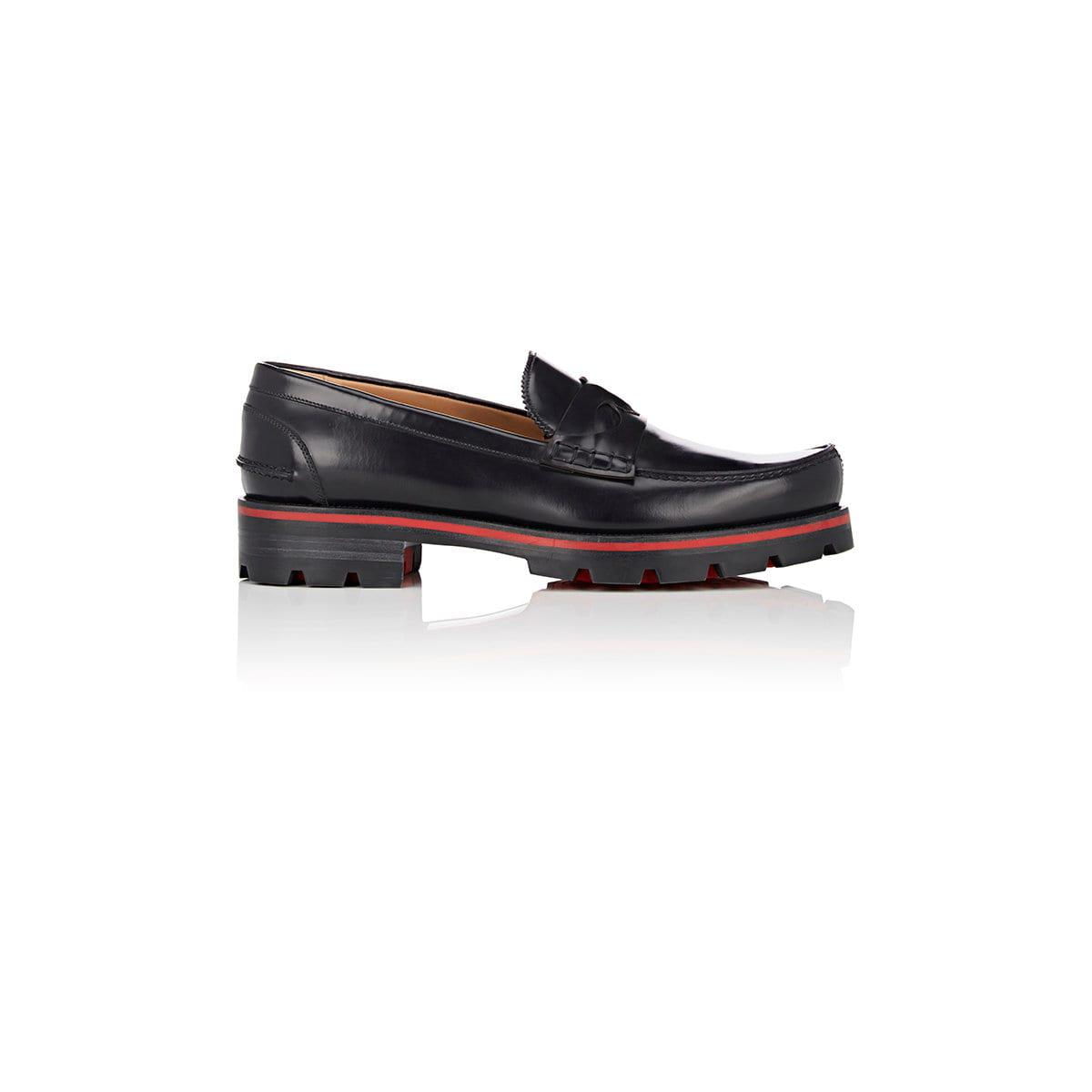 32e0f023074 Christian Louboutin Black Habsbour Tibour Flat Spazzolato Leather Penny  Loafers for men