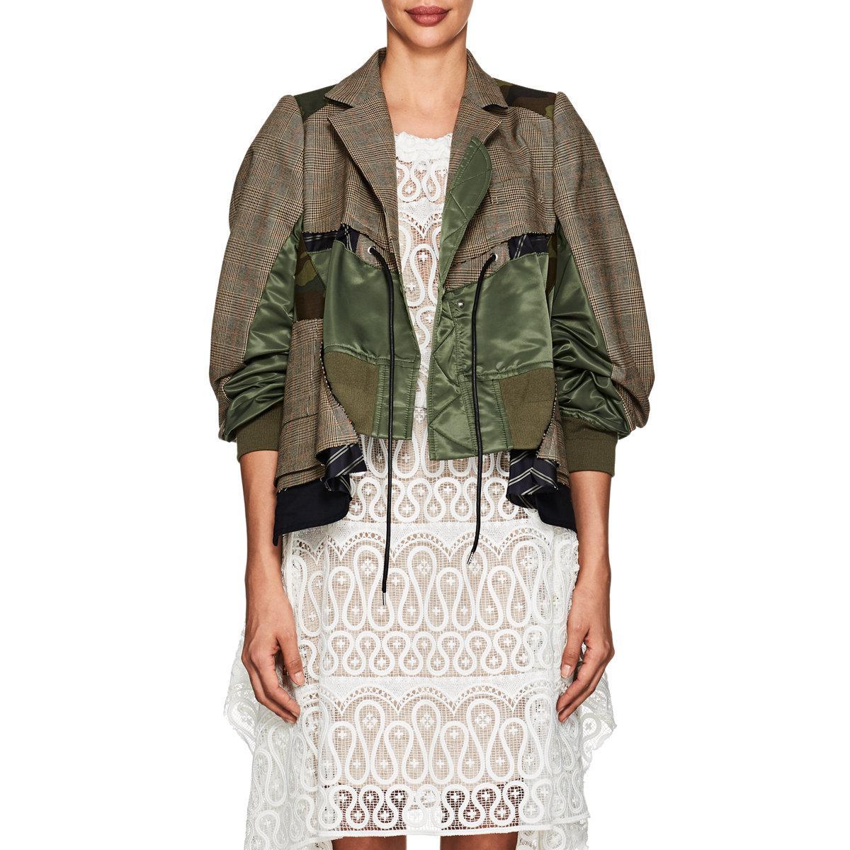 e6ff696b7ec7c Lyst - Sacai Glen Plaid & Camouflage Patchwork Jacket in Natural