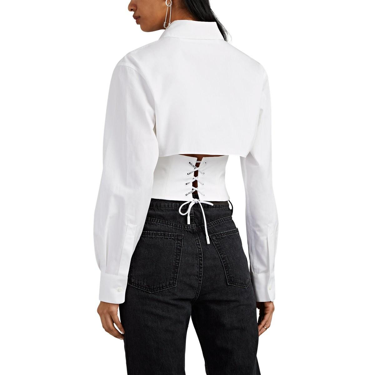 ed3b1a7307 Off-White c o Virgil Abloh - White Cotton Faille Crop Corset Shirt -. View  fullscreen