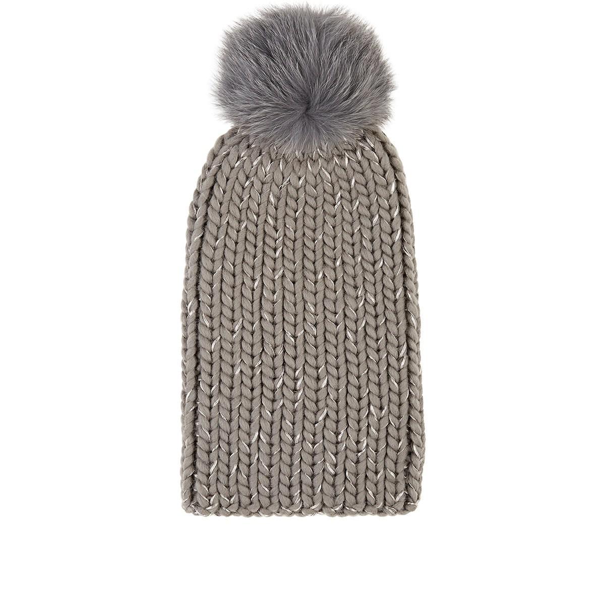 5c7dd83cc Women's Gray Rain Chunky Rib-knit Wool-blend Beanie