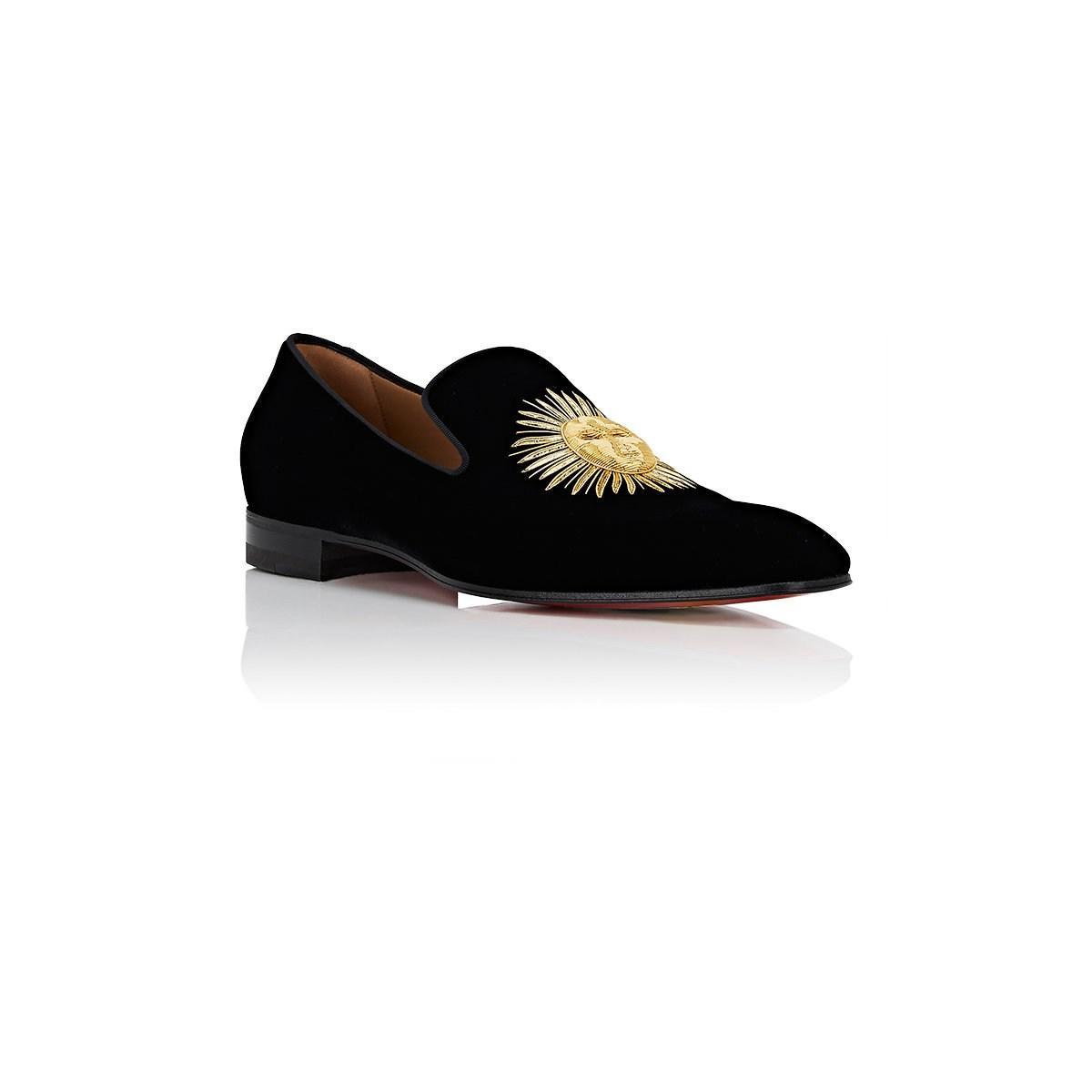 df3fdf1d487d Christian Louboutin - Black Morning Dandelion Velvet Slippers for Men - Lyst.  View fullscreen