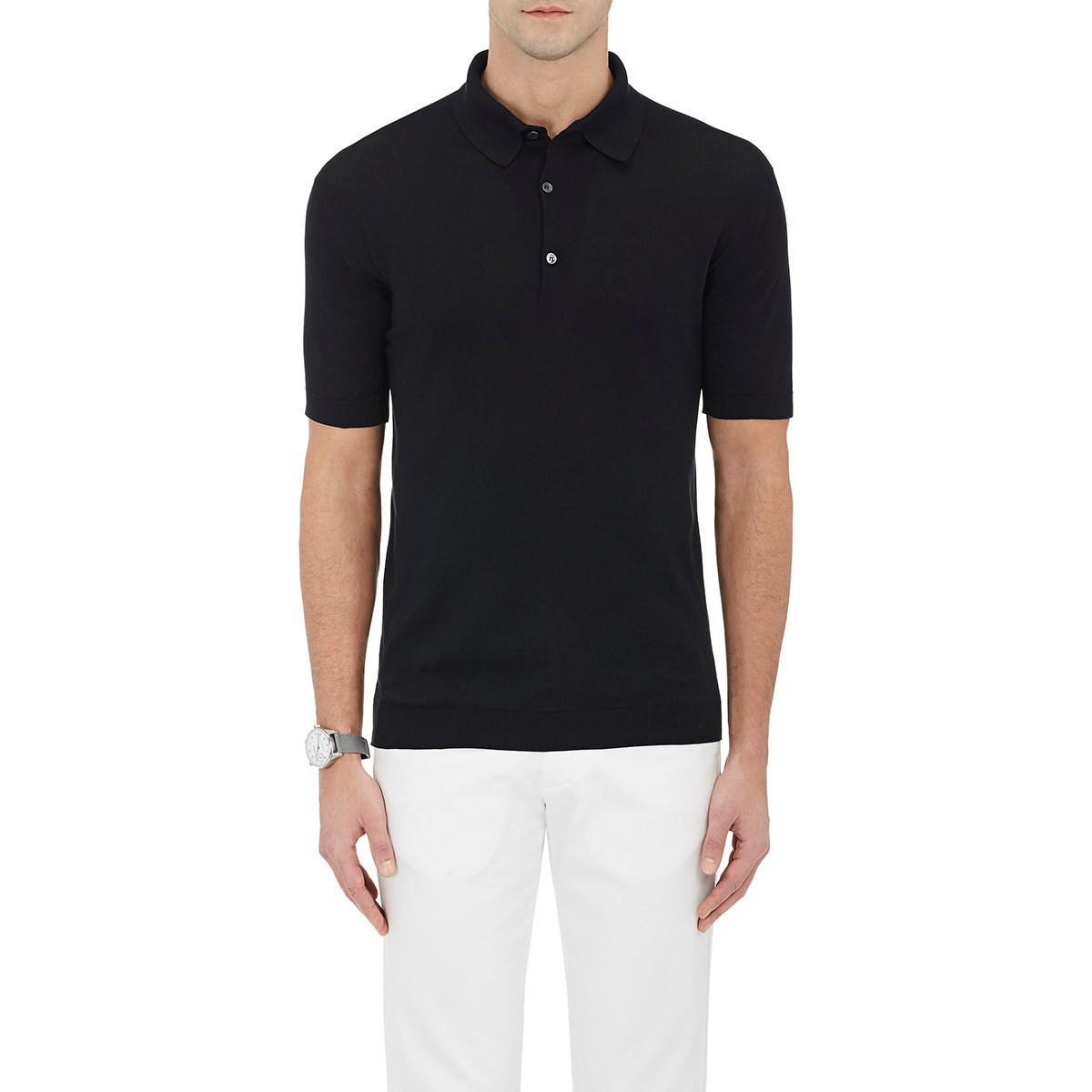 177664fd Lyst - John Smedley Cotton Polo Shirt in Black for Men