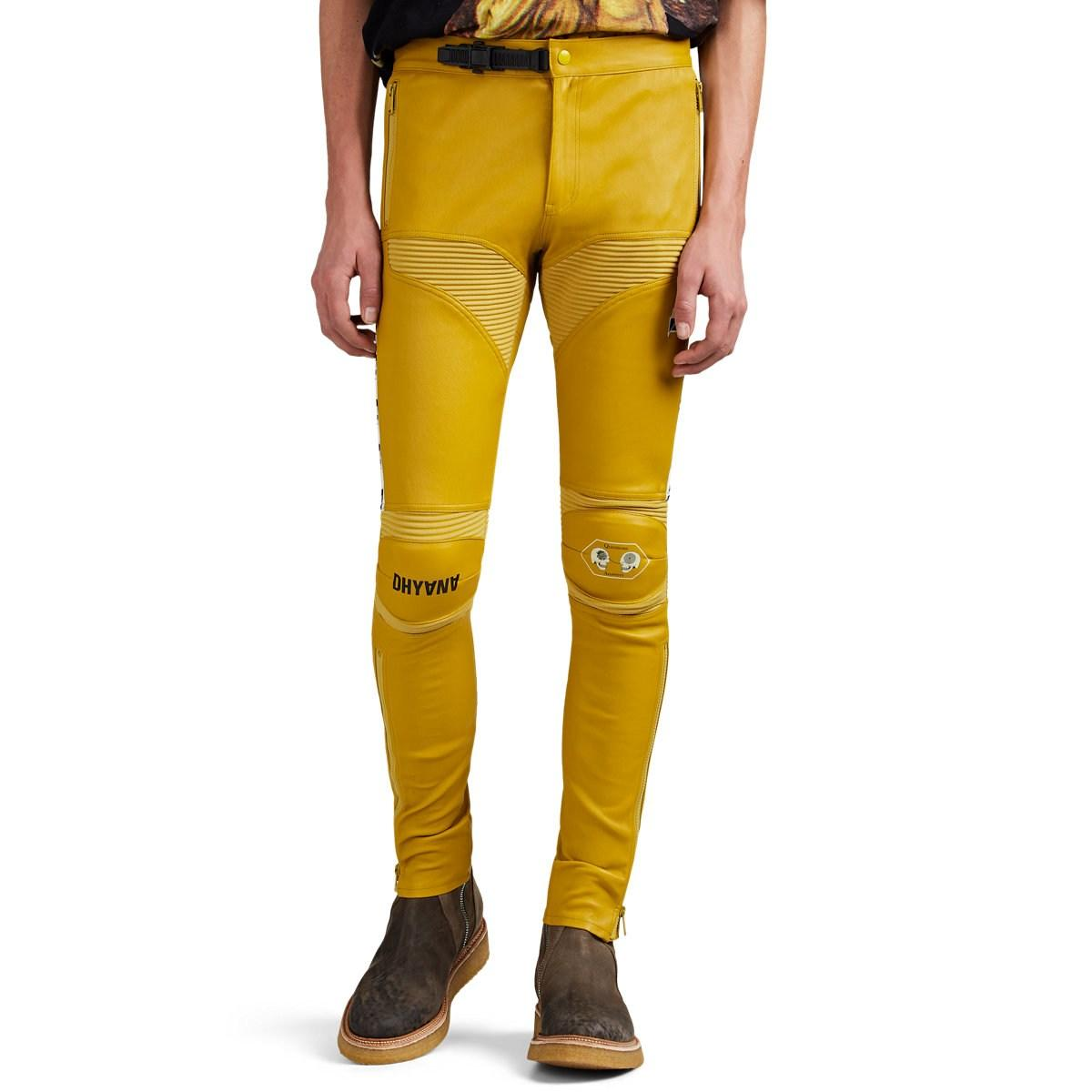 743a85afbfcfb7 Undercover Leather Skinny Moto Trousers in Yellow for Men - Lyst