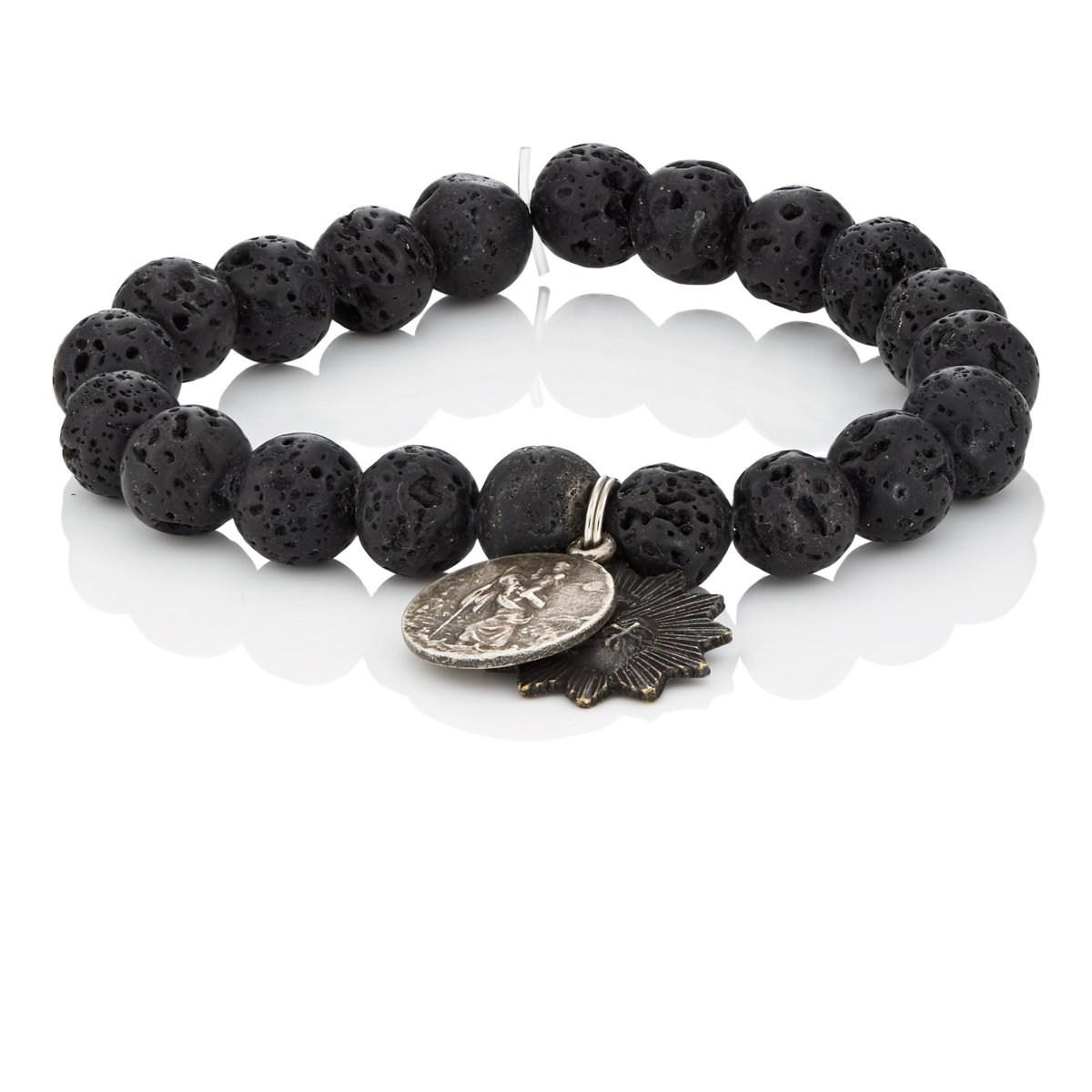 cd2fc5220fd Miracle Icons Spiritual Icon Charms On Beaded Bracelet in Black for ...