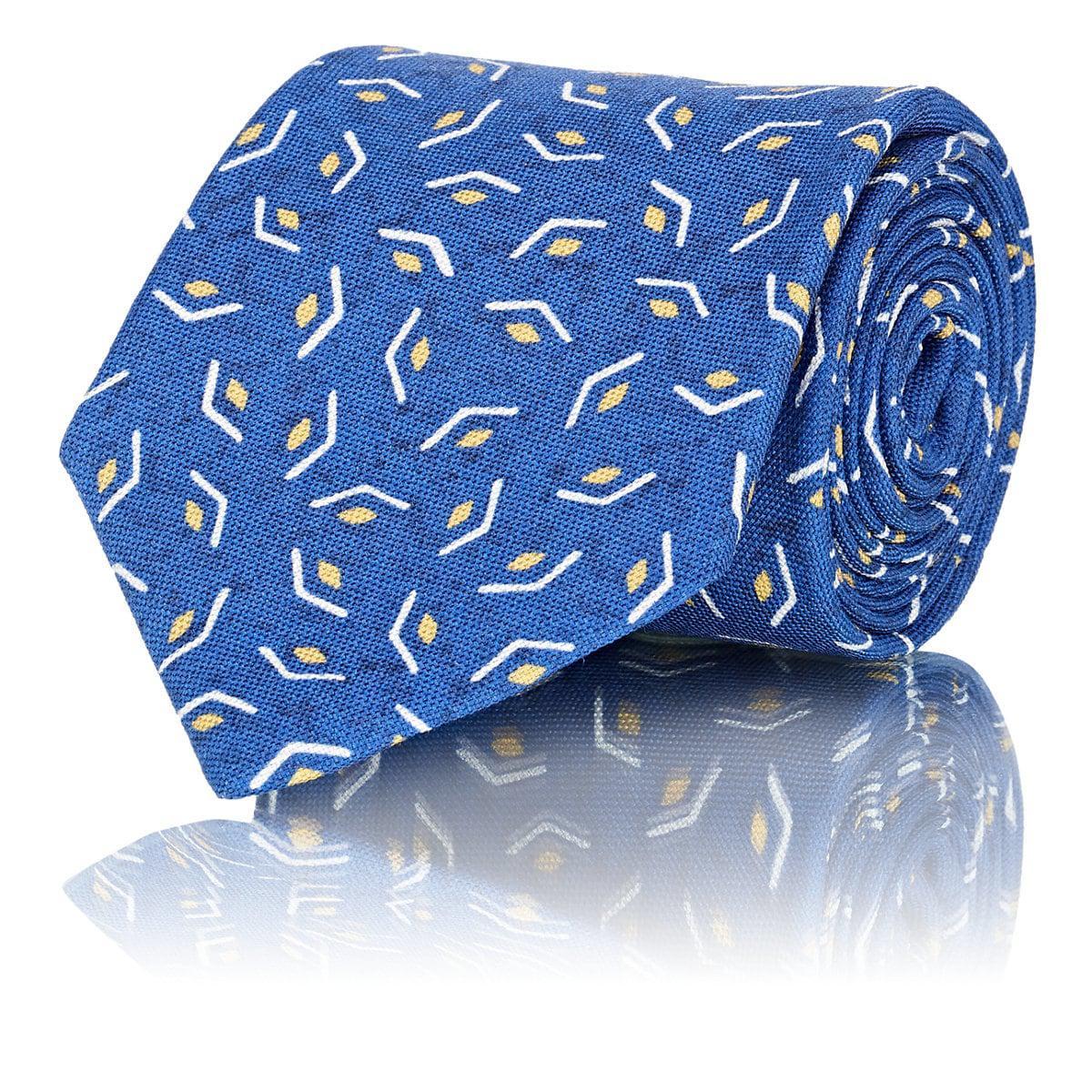 Mens Géométrique Impression Isaia Cravate Coton-soie t2nR2HO