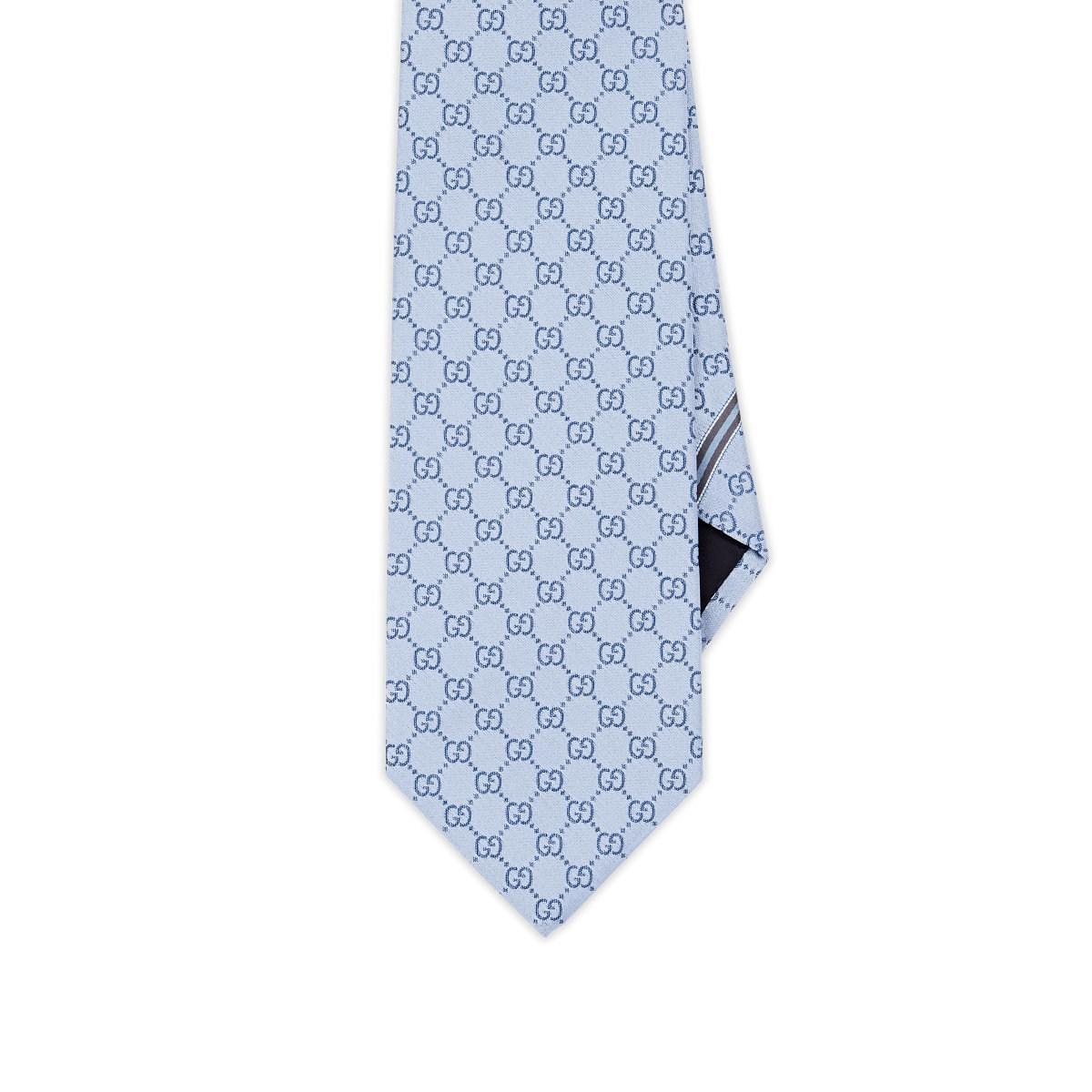 b189c13812a Gucci - Blue GG-Pattern Silk Jacquard Necktie for Men - Lyst. View  fullscreen