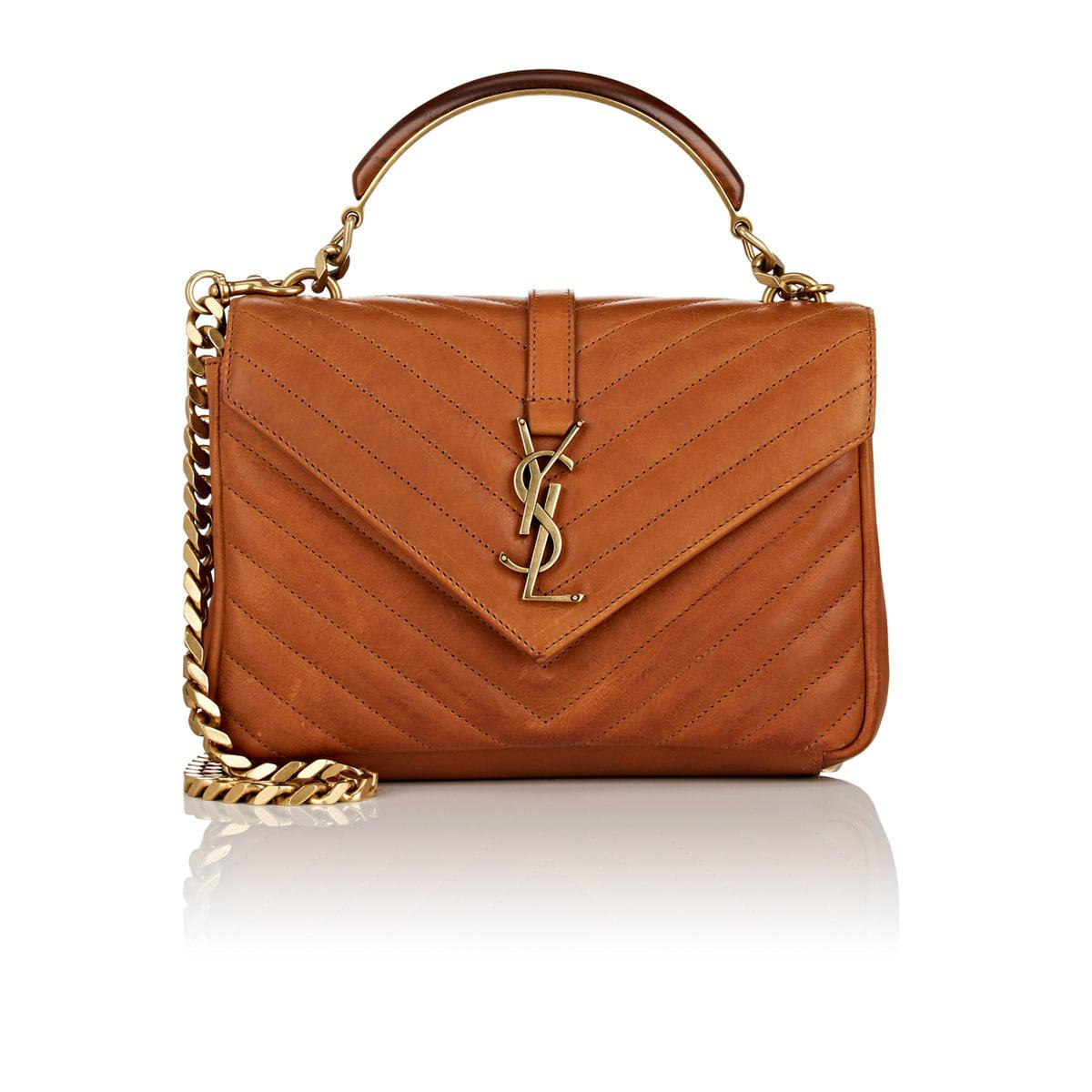 48cbc28a1ca Saint Laurent Monogram College Medium Leather Shoulder Bag in Brown ...