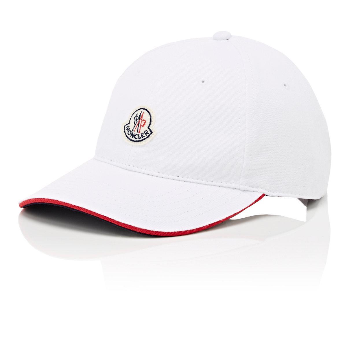6c959e7ba44 Moncler Logo Cotton Twill Baseball Cap in White for Men - Lyst