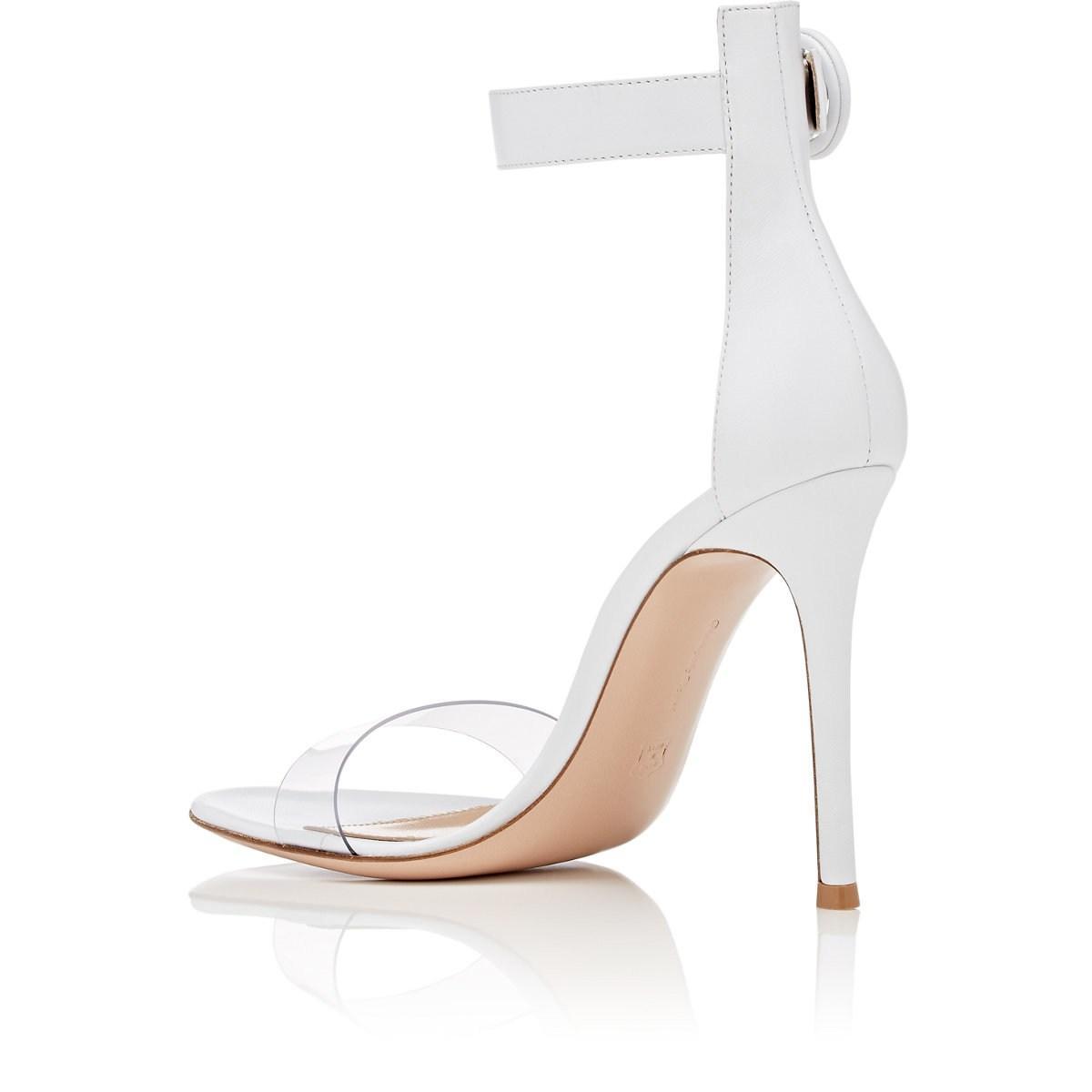 7d176bdaca9 Gianvito Rossi - White Stella Leather   Pvc Sandals - Lyst. View fullscreen