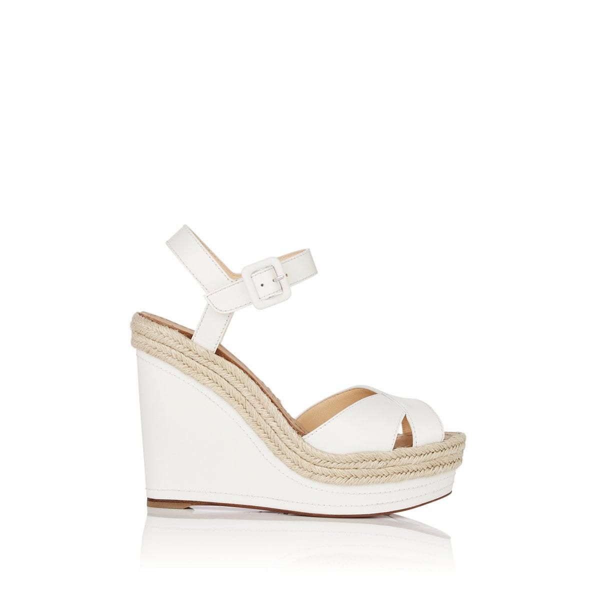 2cd28aaf402 Christian Louboutin. Women s White Almeria Leather Platform-wedge Sandals