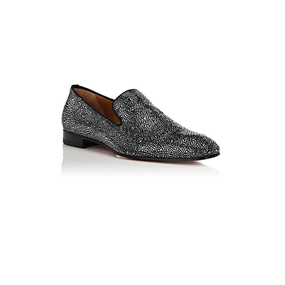 129879b03041 Christian Louboutin - Gray Dandelion Strass Suede Venetian Loafers for Men  - Lyst. View fullscreen