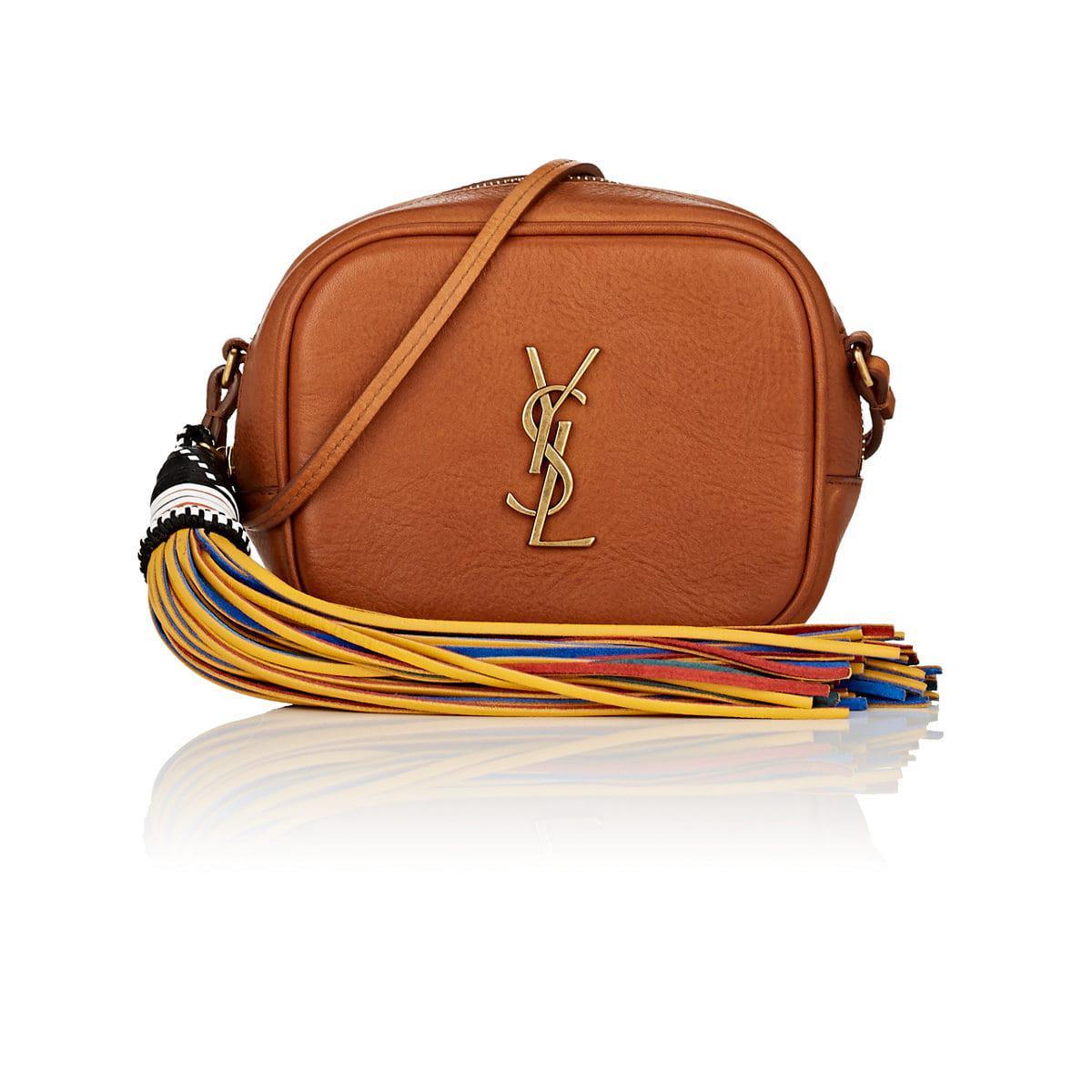 6fc49b6526 Lyst - Saint Laurent Monogram Blogger Leather Crossbody Bag in Brown