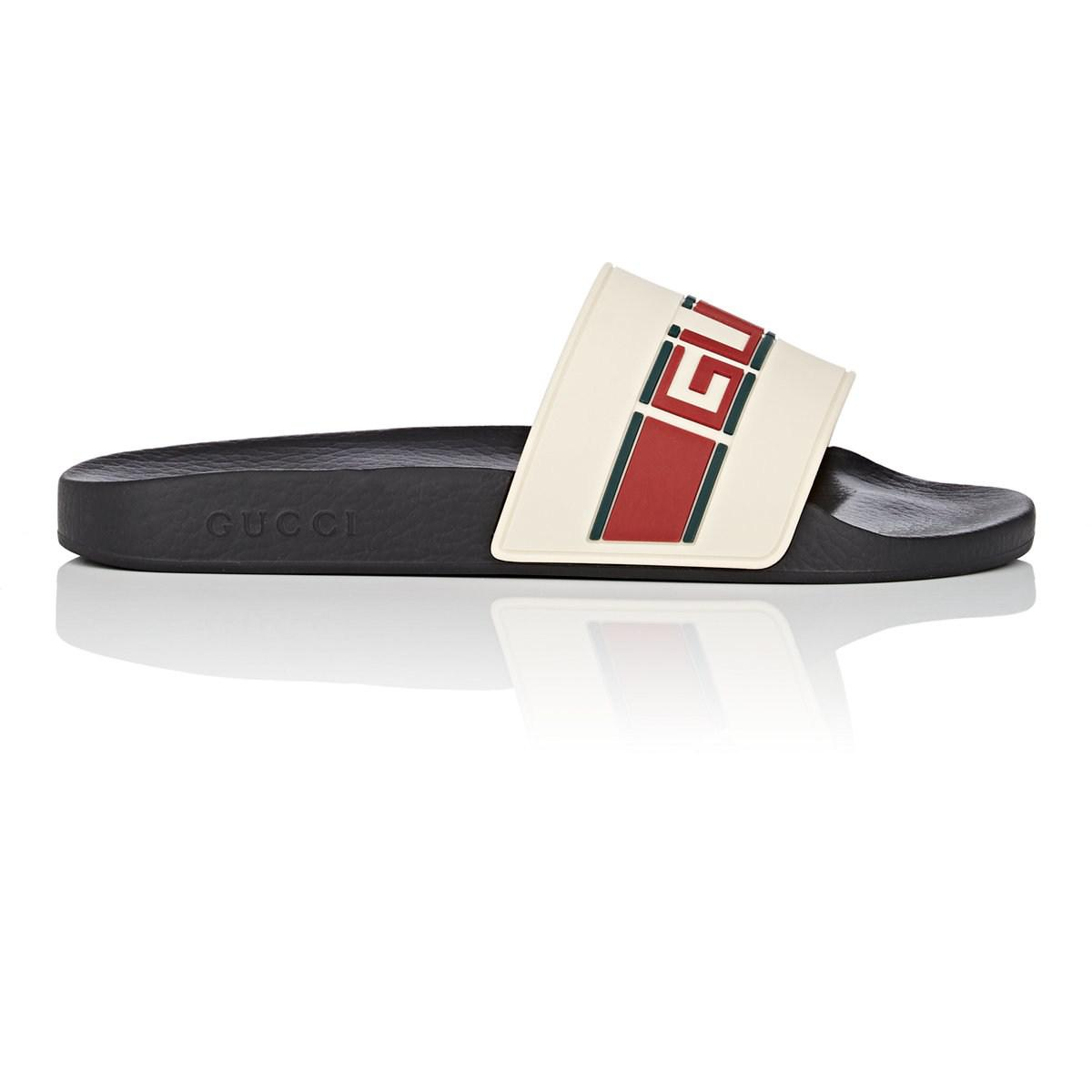 699a421de77 Gucci - Black Striped-logo Rubber Slide Sandals for Men - Lyst. View  fullscreen