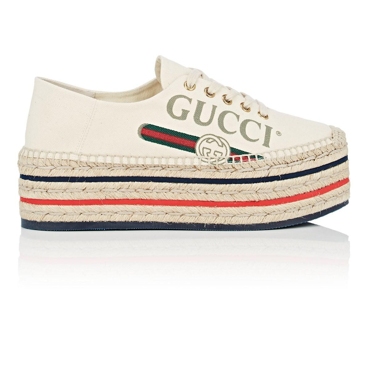 a23f110c9e2688 Lyst - Gucci Canvas Platform Espadrille Sneakers in White - Save 20%