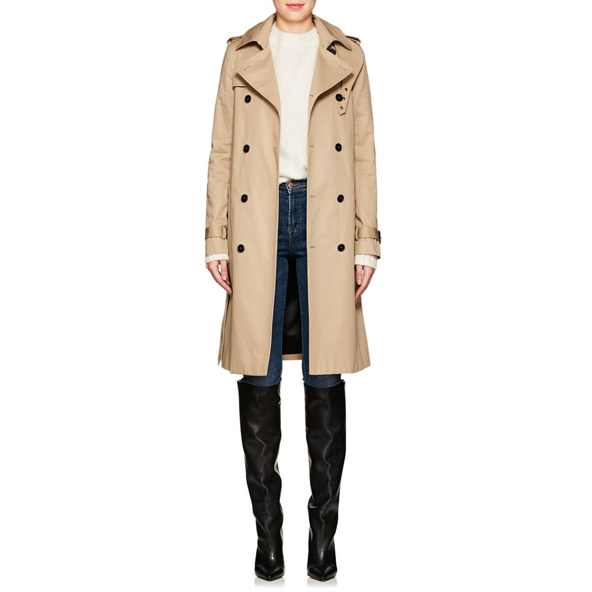 965e724cd29 Saint Laurent Twill Belted Trench Coat in Natural - Lyst