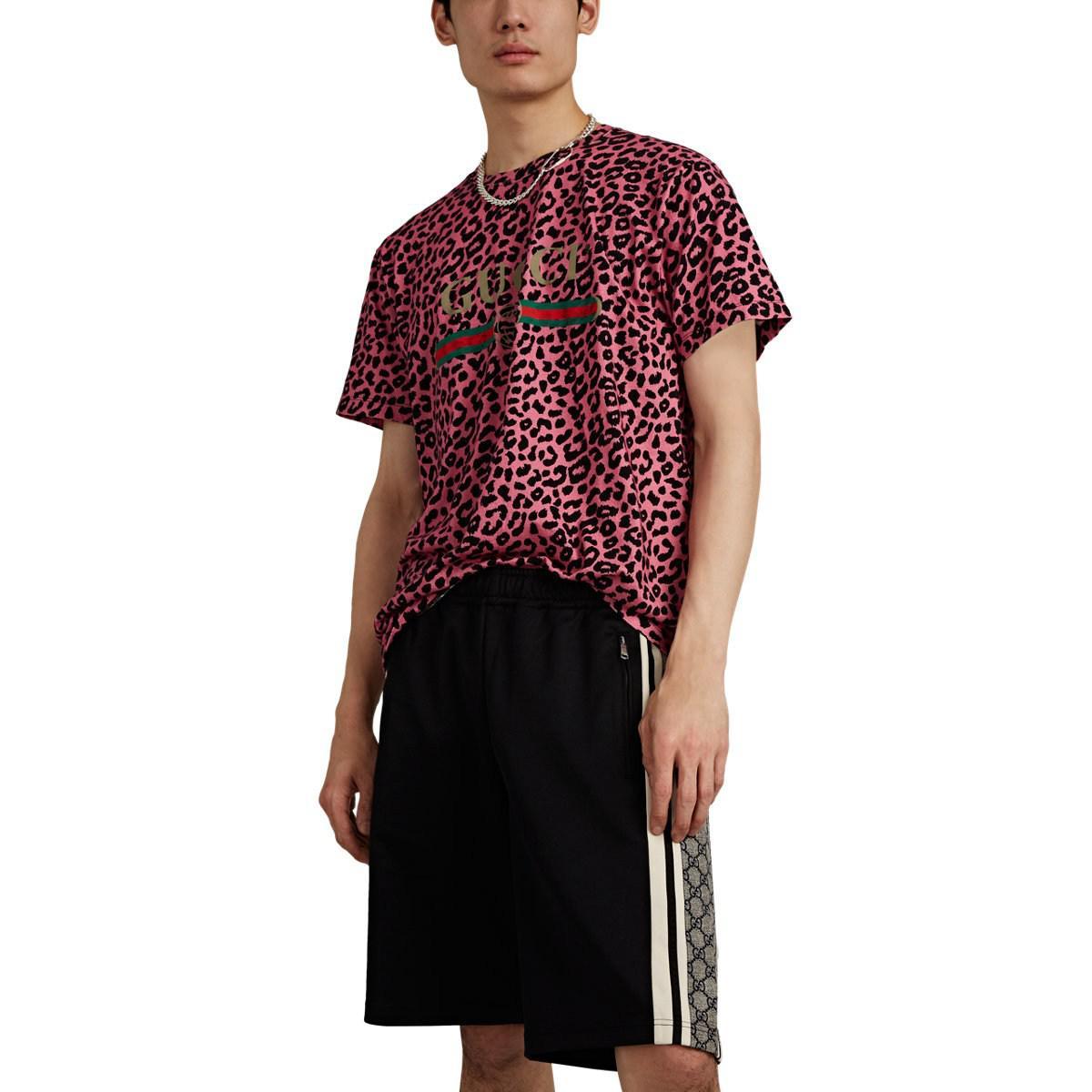 8b6ae3787a00 Lyst - Gucci Vintage-logo Leopard-print Cotton T-shirt in Black for Men
