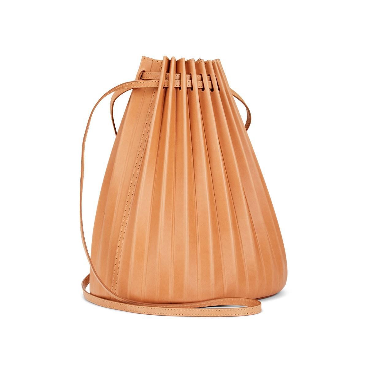 b8dede22f Mansur Gavriel - Natural Pleated Leather Bucket Bag - Lyst. View fullscreen