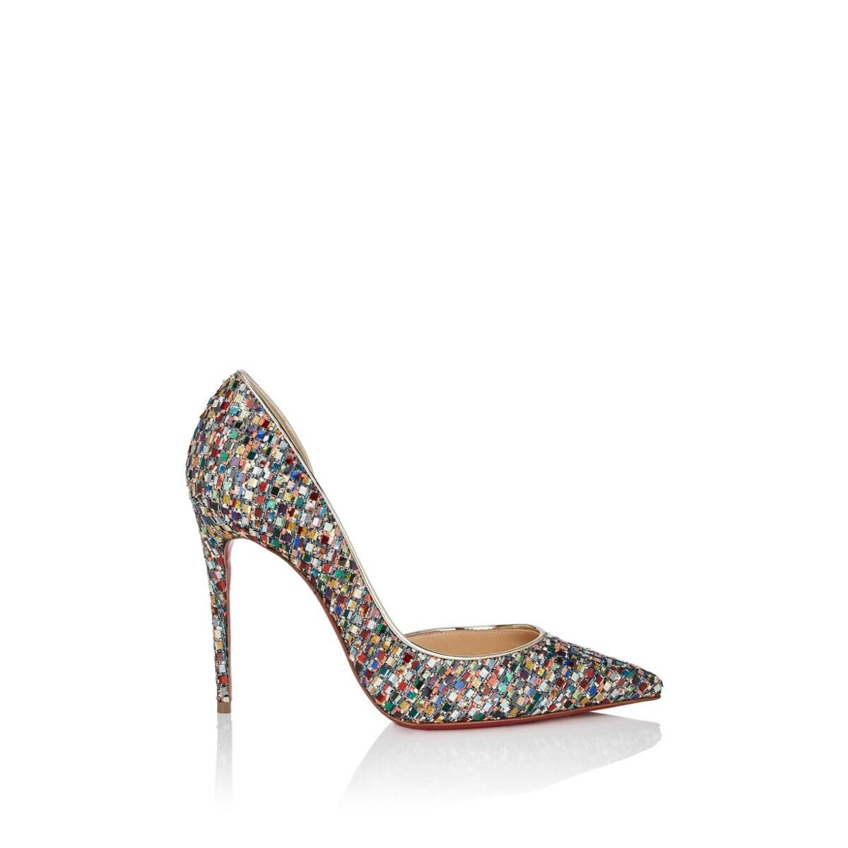 75d23254d3 Christian Louboutin Iriza Holographic Tweed D'orsay Pumps Size 7.5 ...