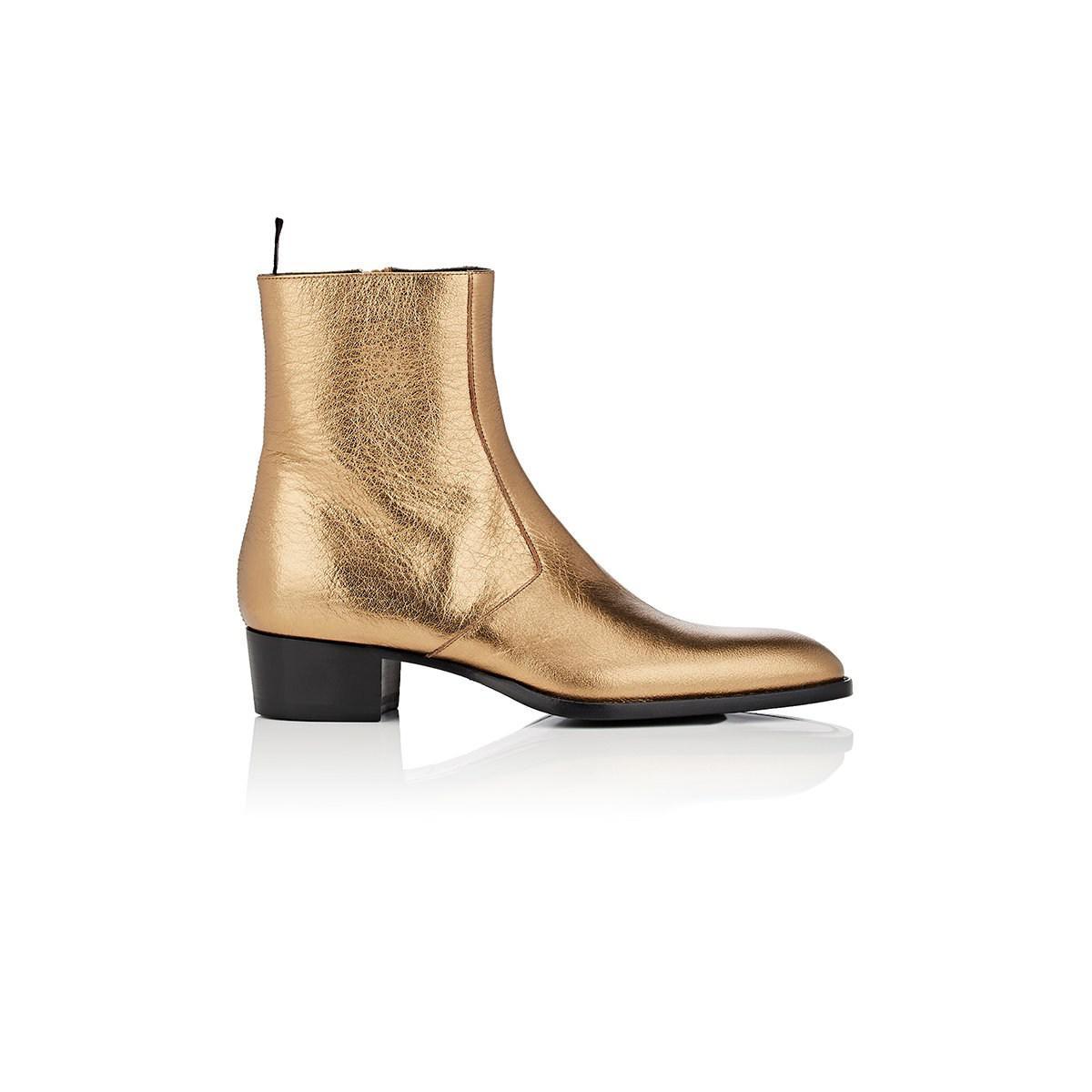 891c0a11 Saint Laurent Wyatt 40mm Men's Metallic Leather Ankle Boots Gold for men