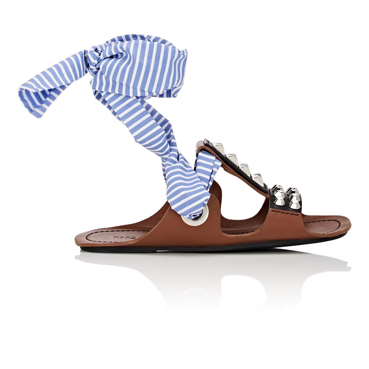 6ddbf741ef71 Lyst - Prada Leather   Ribbon Wraparound Sandals in Brown