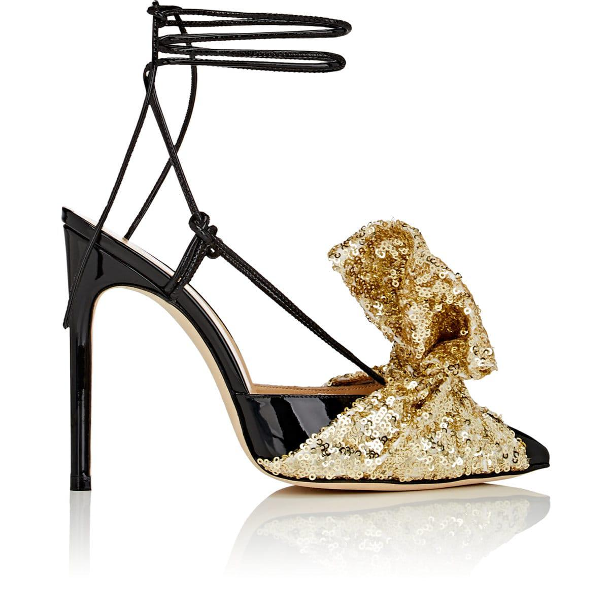 GIANNICO Bow-Embellished Patent Leather Sandals popular online LNgxK