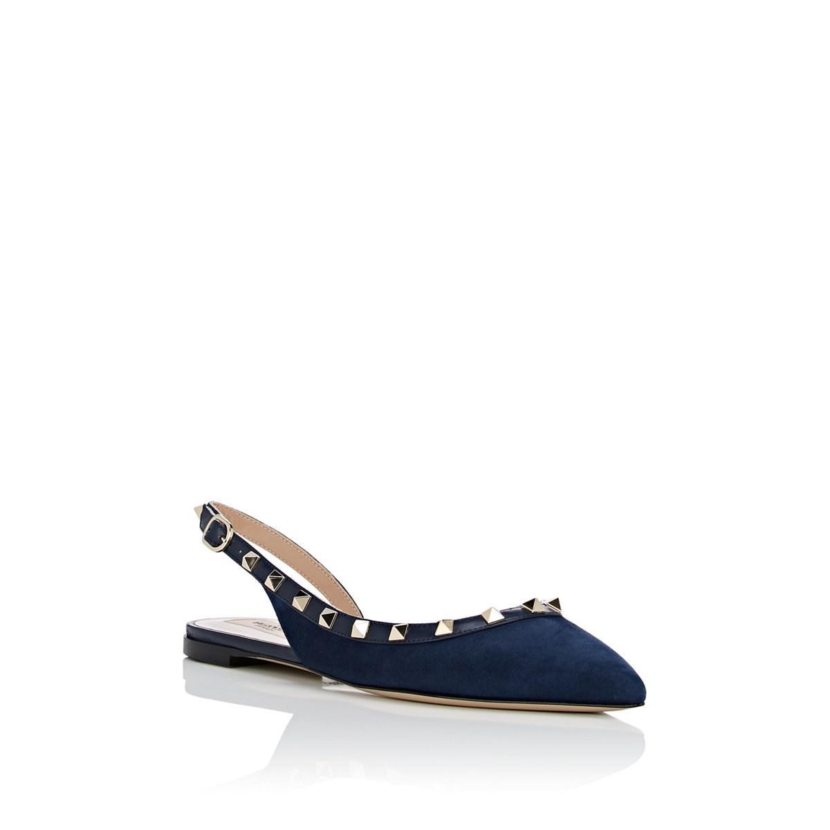 37563b6f5b20 Valentino - Blue Rockstud Suede Slingback Ballet Flats - Lyst. View  fullscreen
