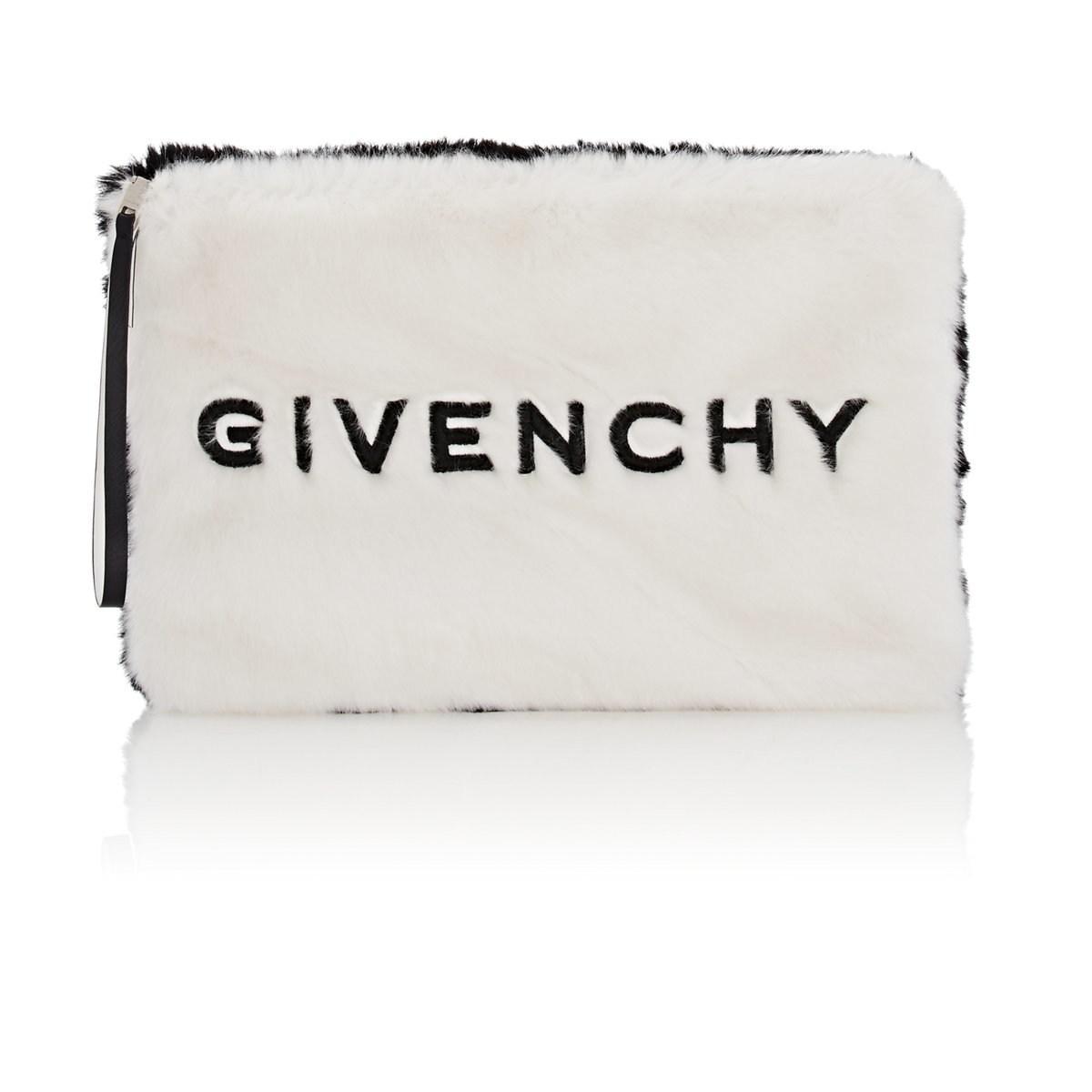 405196911979 Givenchy - White Gv3 Large Faux-fur Pouch - Lyst. View fullscreen