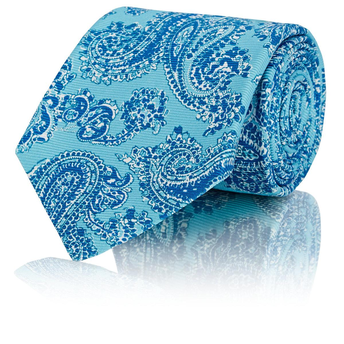 Mens Paisley Silk Faille Necktie Kiton 9MUgi2B