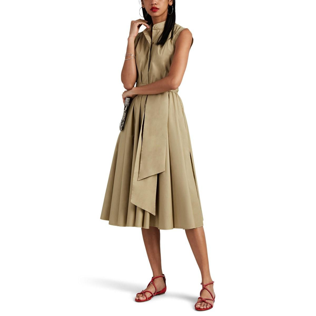 c5e49e3ac64 Barneys New York - Natural Pleated Cotton Poplin Belted Midi-dress - Lyst.  View fullscreen