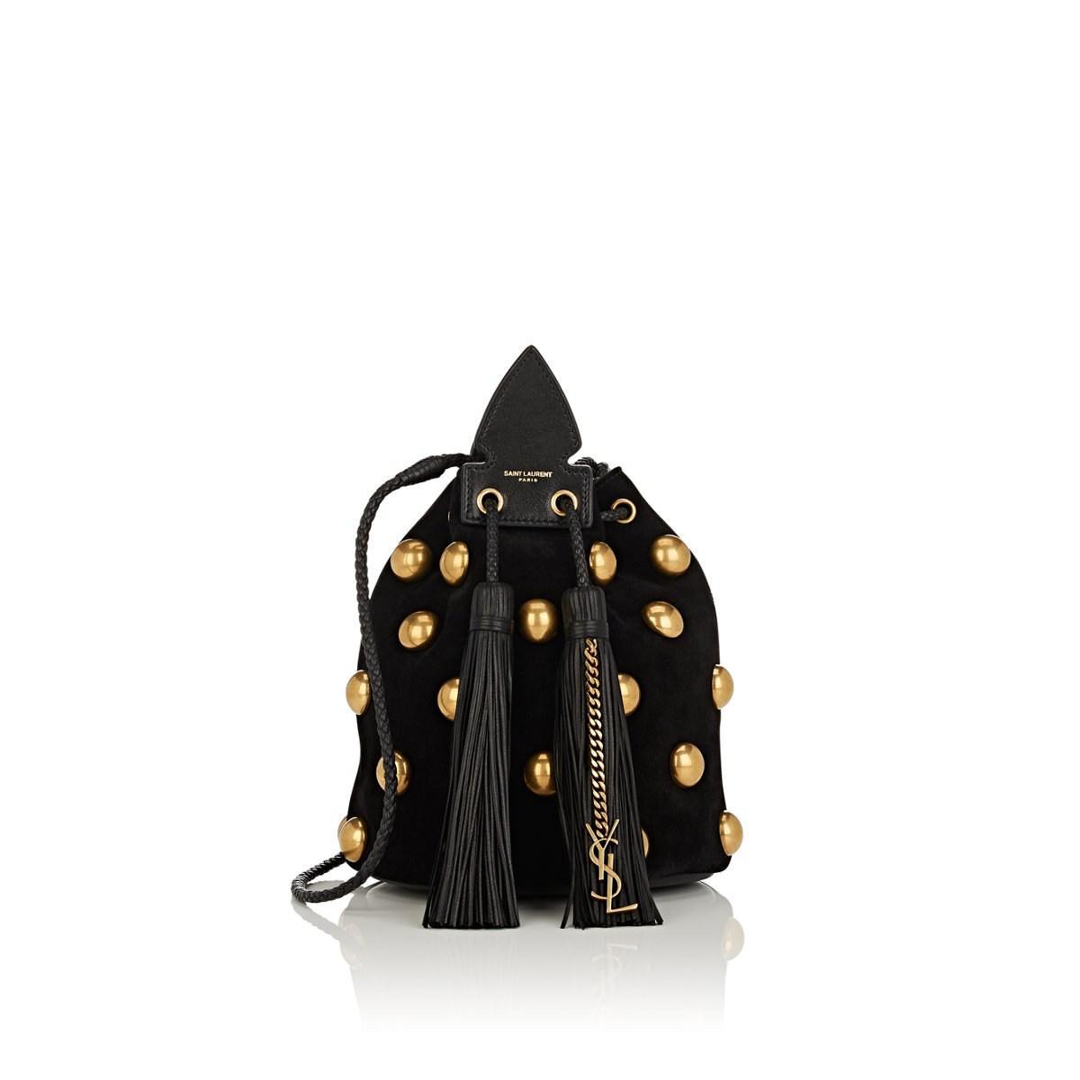 fbaa1f022ef2 Saint Laurent - Black Anja Small Suede Bucket Bag - Lyst. View fullscreen