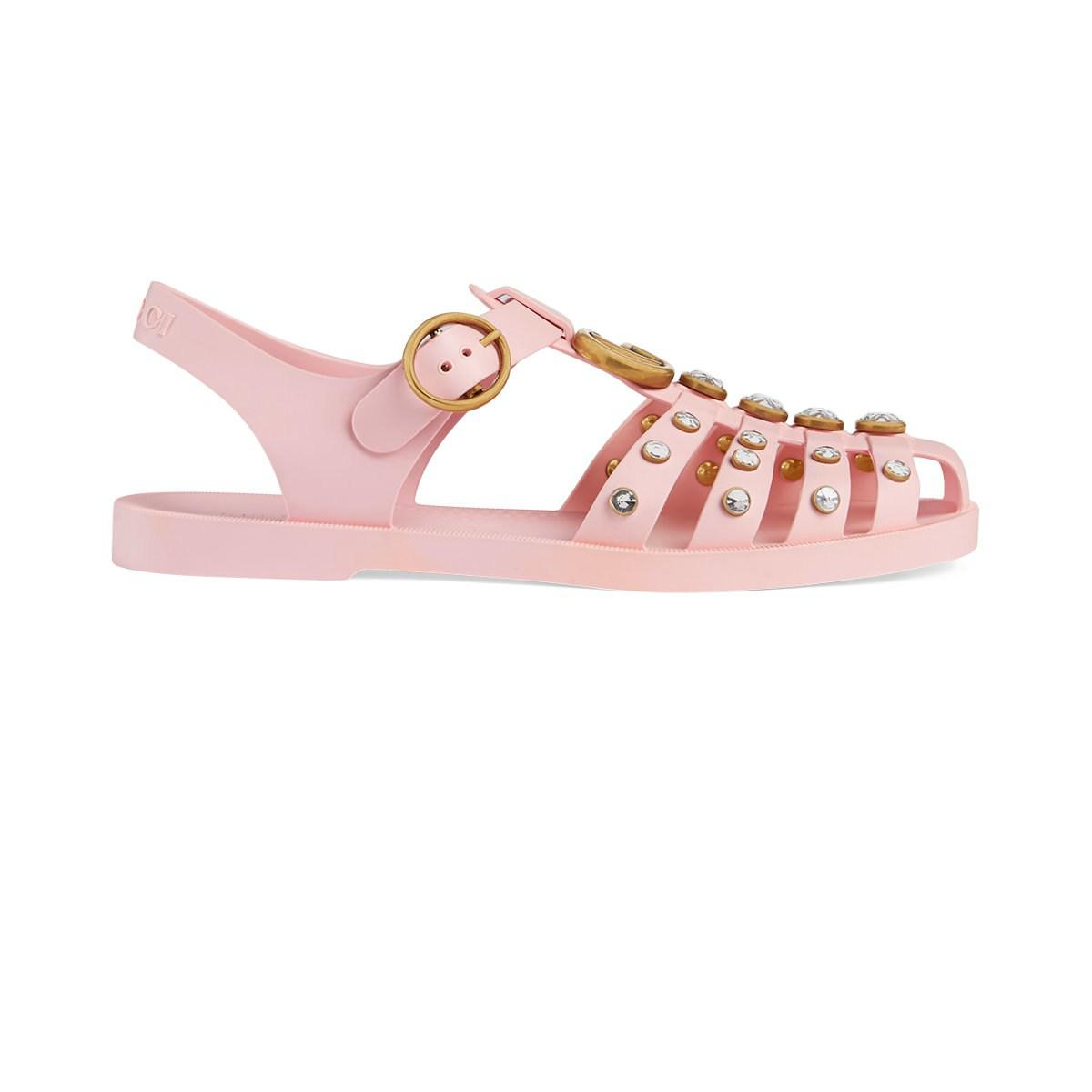 a716bd57f8f8 Gucci Crystal-embellished Rubber Sandals in Pink - Save 9% - Lyst