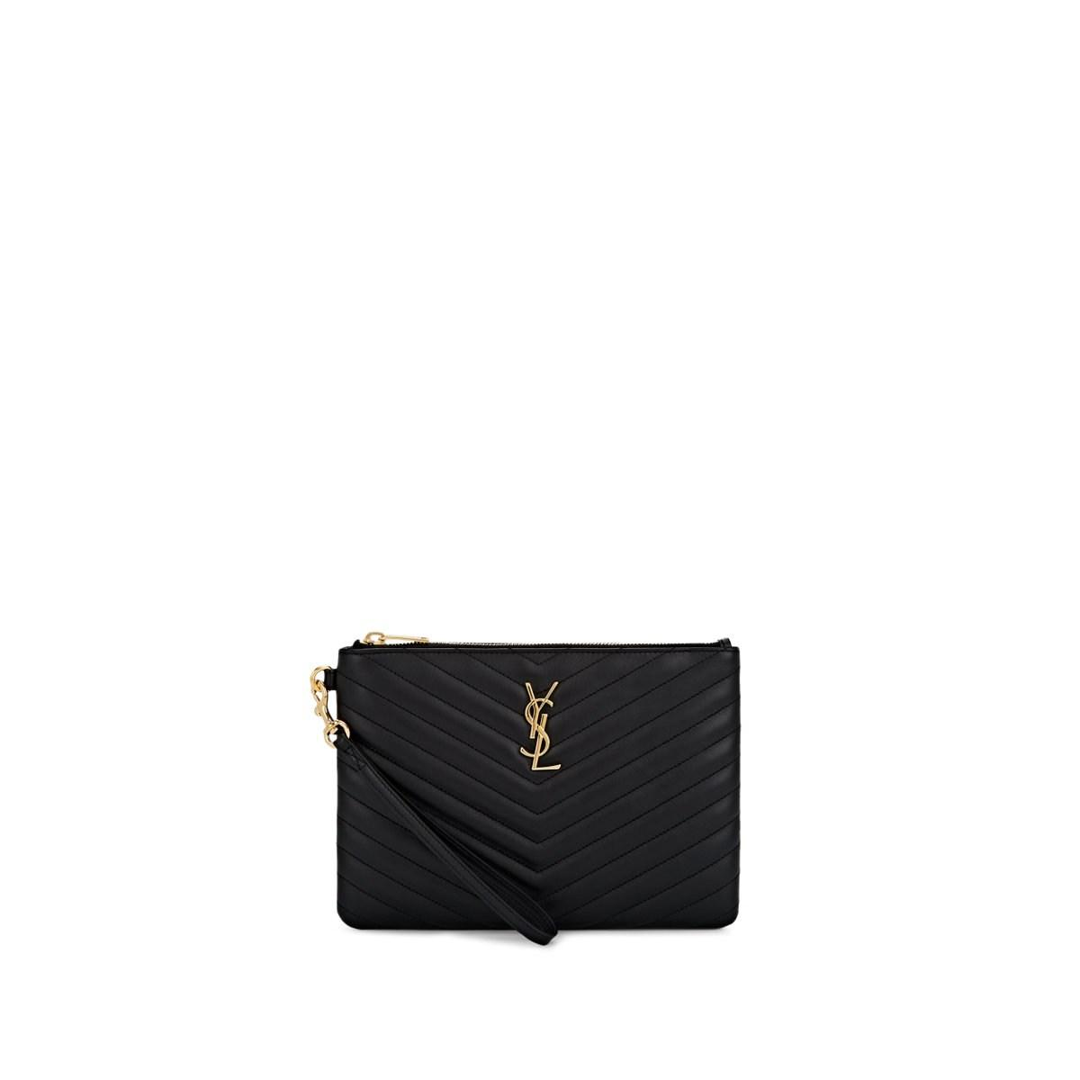 78501d5ff04 Lyst - Saint Laurent Monogram Leather Pouch in Black