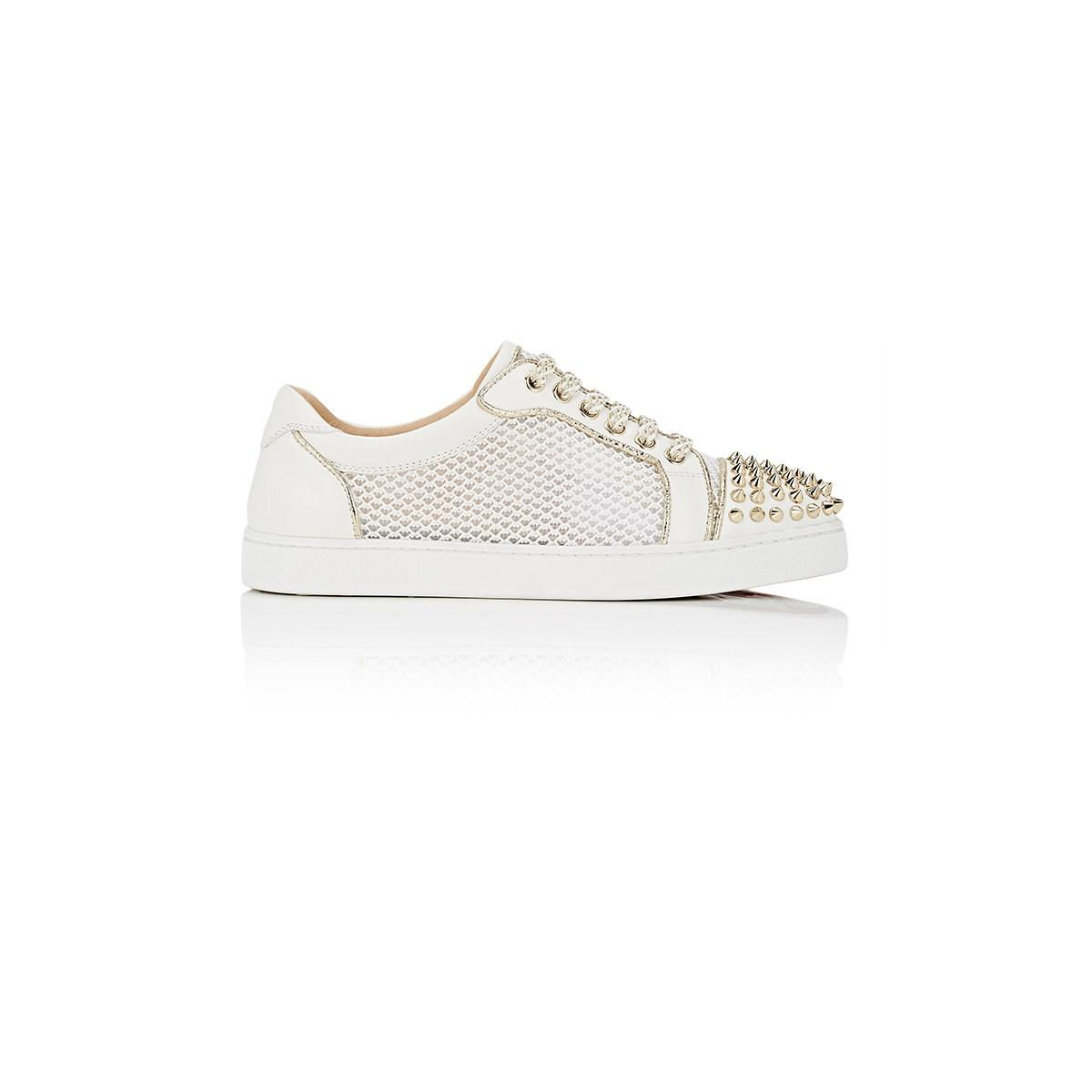 d4d3e391b68 Christian Louboutin White Ac Viera Spikes Flat Leather & Mesh Sneakers