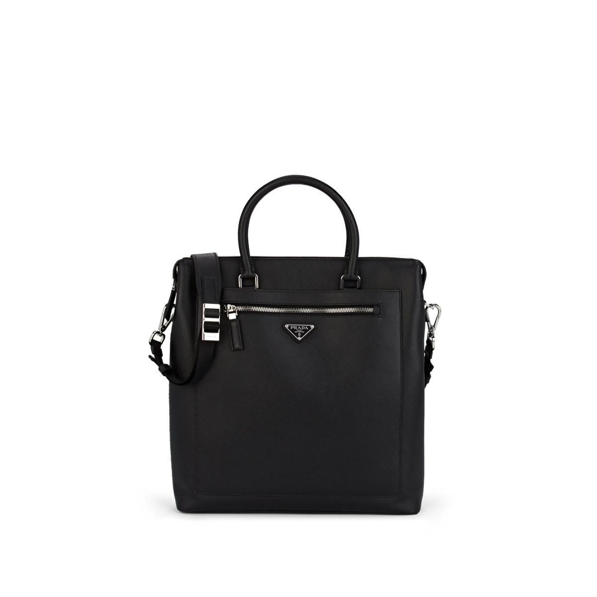 7e37fc0ea1e4 Prada - Black Leather Travel Tote Bag for Men - Lyst. View fullscreen