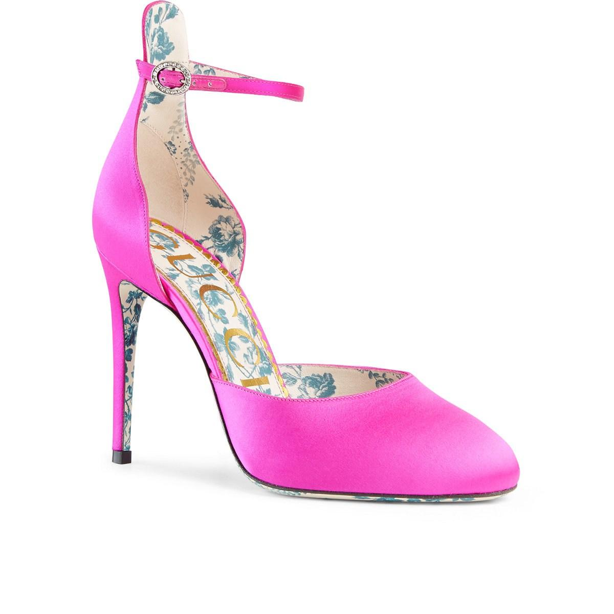 e60dc1f651ae30 Gucci Crystal-buckle Satin D orsay Pumps in Pink - Save 11% - Lyst