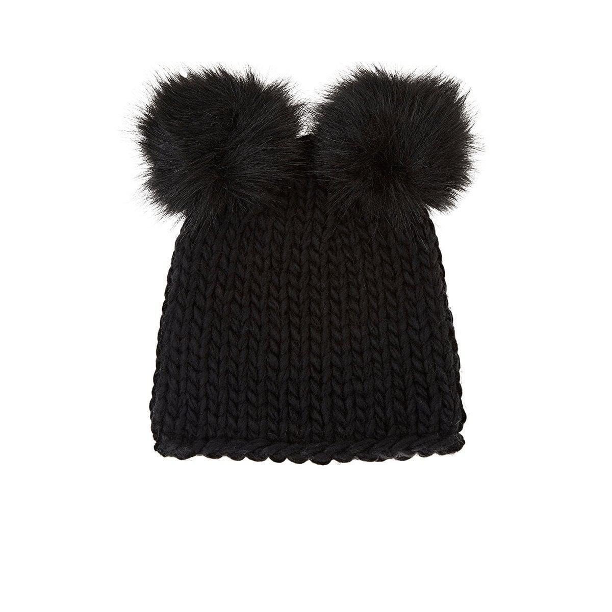3ec99fbb2 Barneys New York Wool-blend Double Pom-pom Hat in Black - Lyst