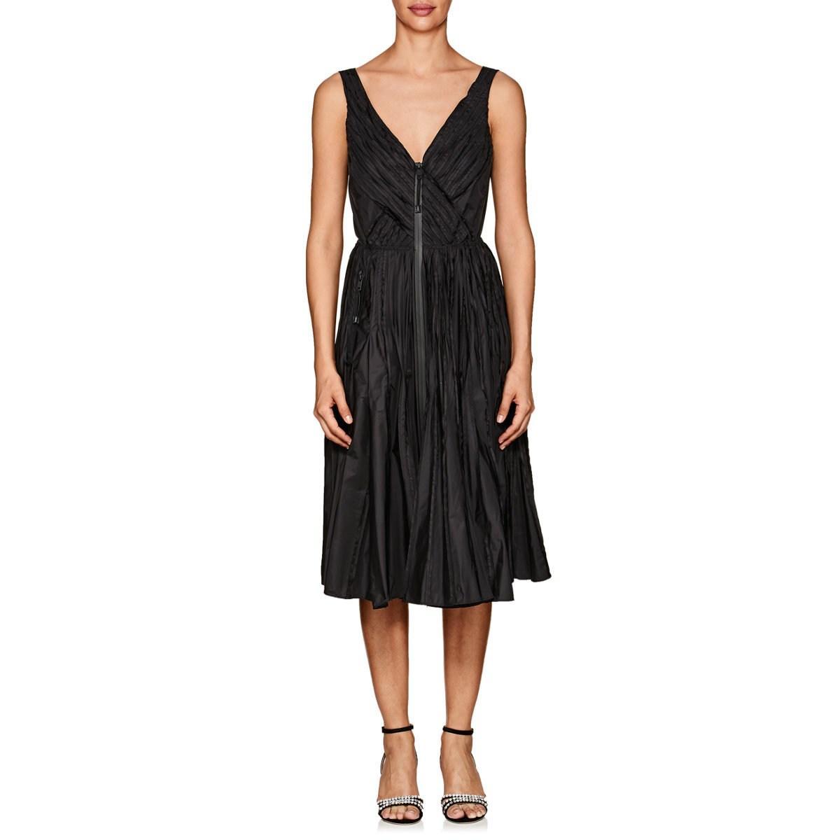 d7f53e7585 Prada Pleated Tech-taffeta A-line Dress in Black - Save 74% - Lyst