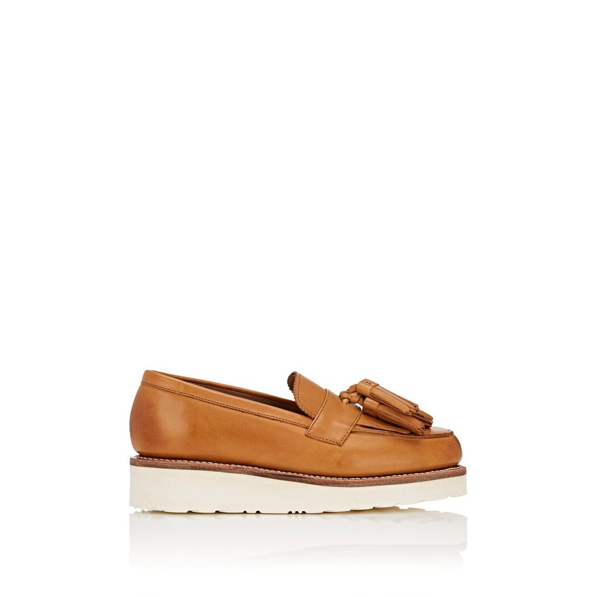 40123c0243e Lyst - Grenson Clara Leather Wedge Loafers in Brown
