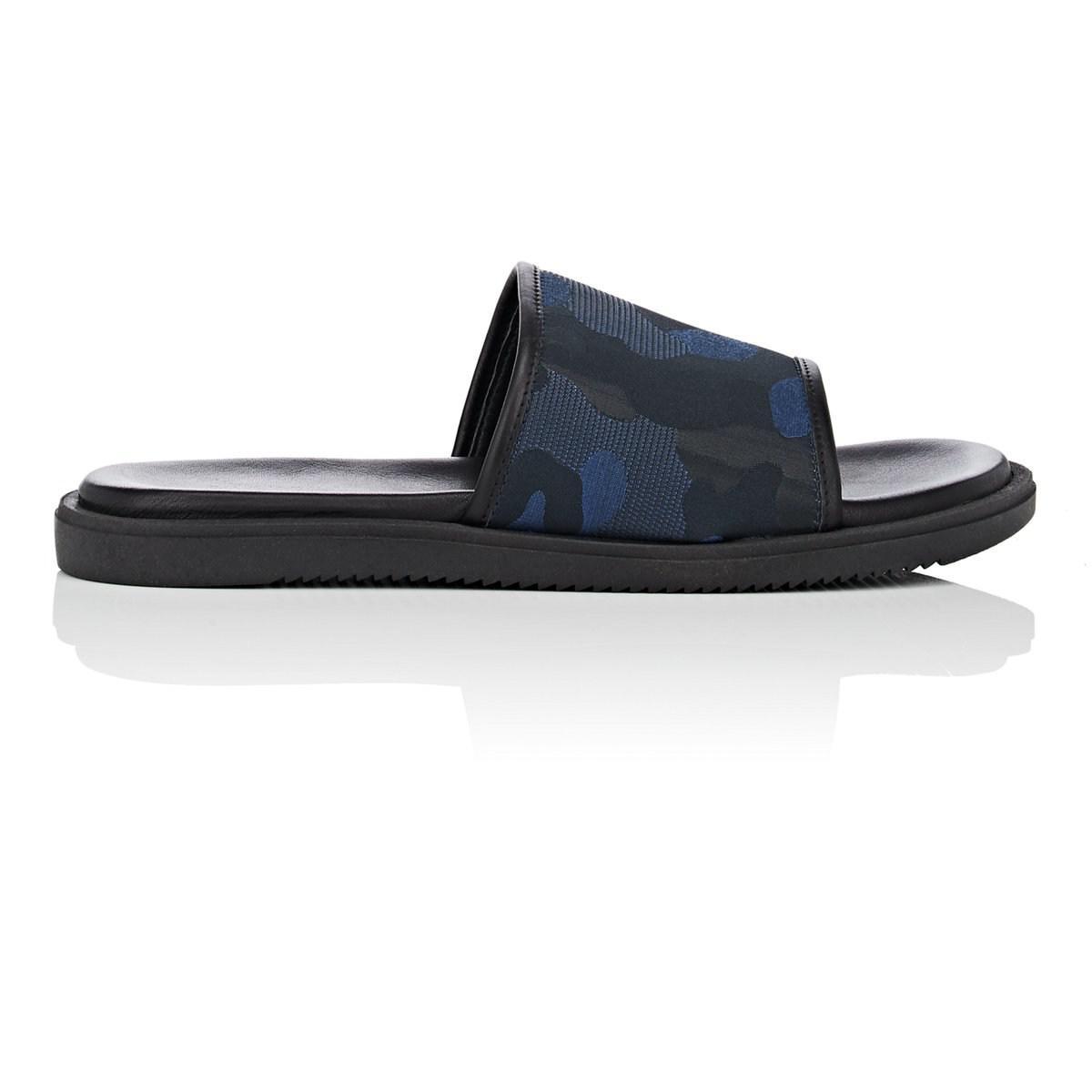 72b87a069 Lyst - Barneys New York Leather   Nylon Slide Sandals in Blue for ...