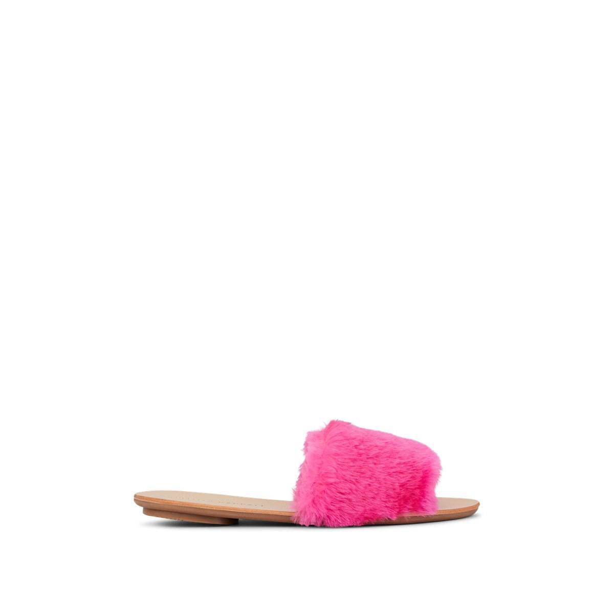482eb6e929e422 Lyst - Loeffler Randall Isabel Faux-fur Slide Sandals in Pink