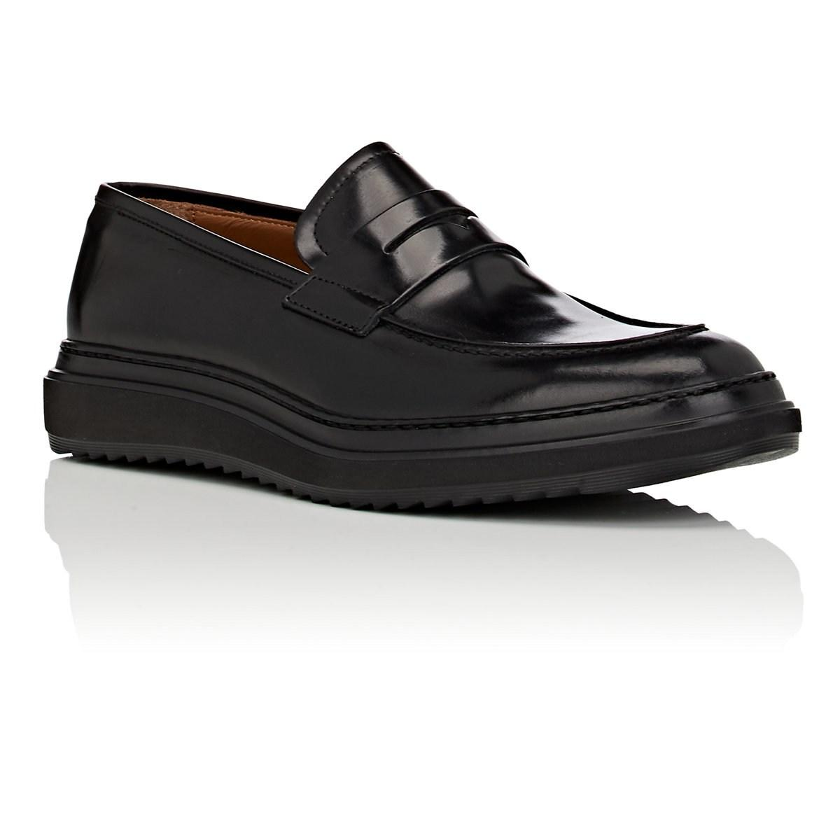 ae0fe4a02ff05 Barneys New York Black Wedge-sole Suede Penny Loafers for men. View  fullscreen