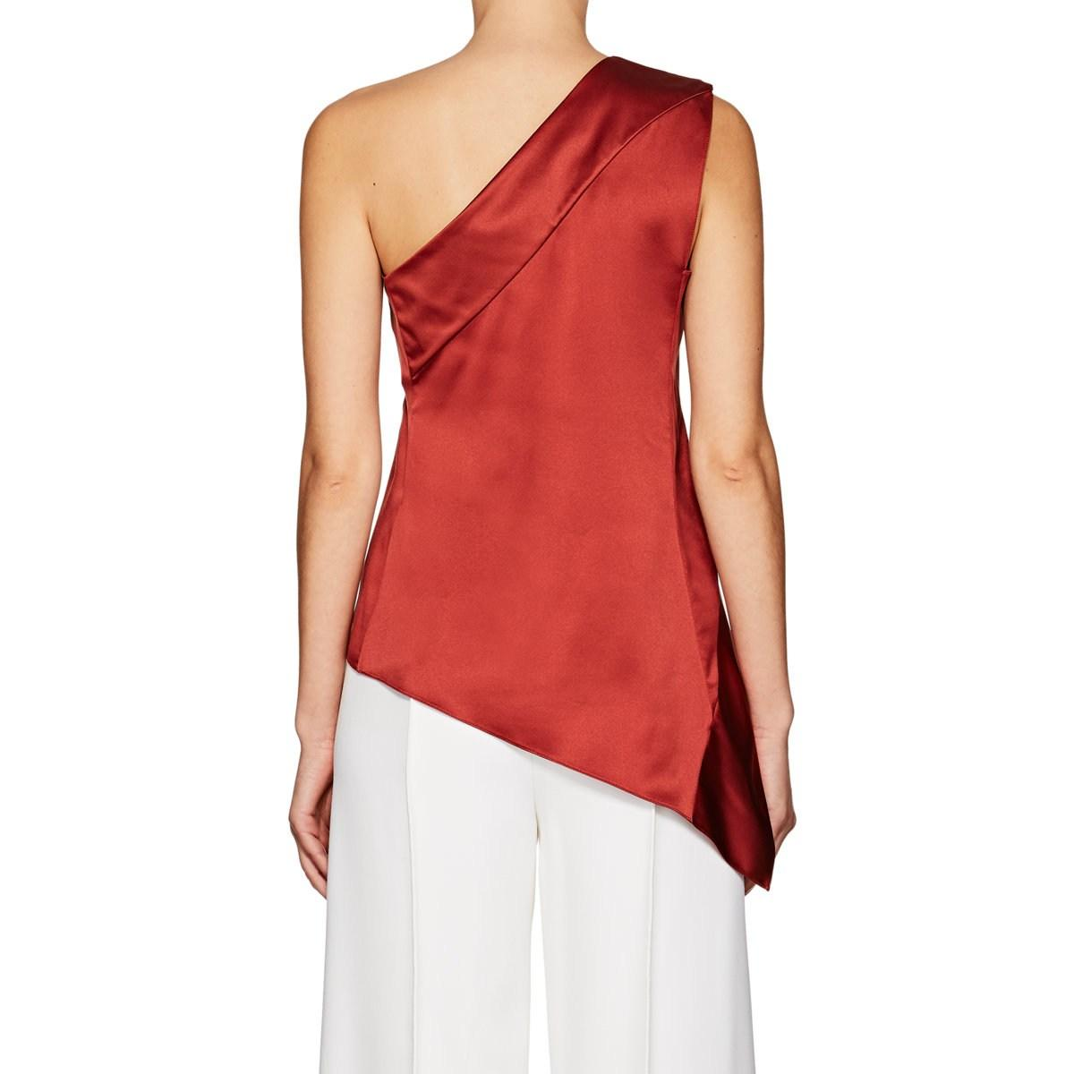 8c9730801ceb4 Narciso Rodriguez - Red Silk Satin One-shoulder Blouse - Lyst. View  fullscreen
