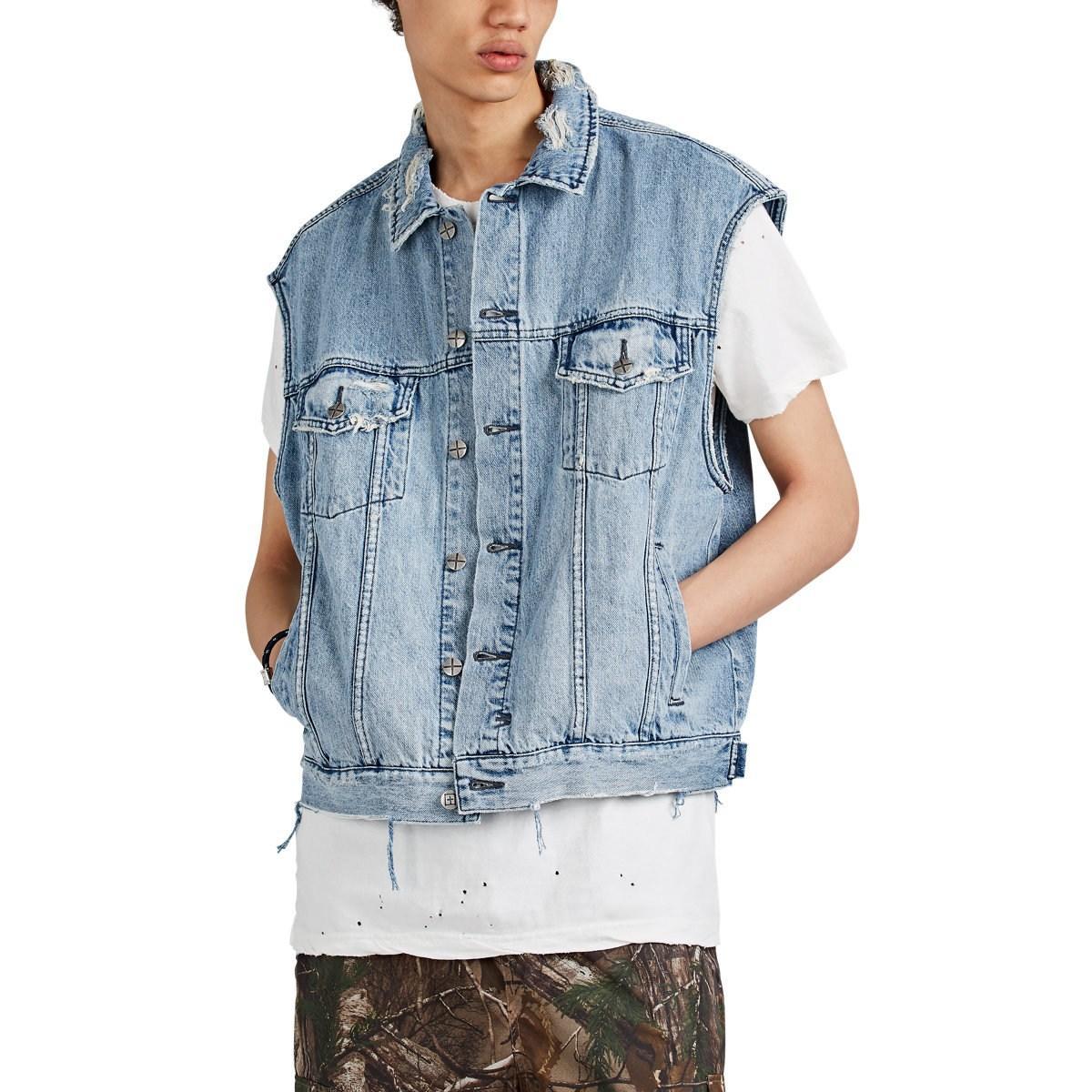 15ed268e48ab Lyst - Ksubi Vice Acid-washed Distressed Cotton Denim Vest in Blue ...