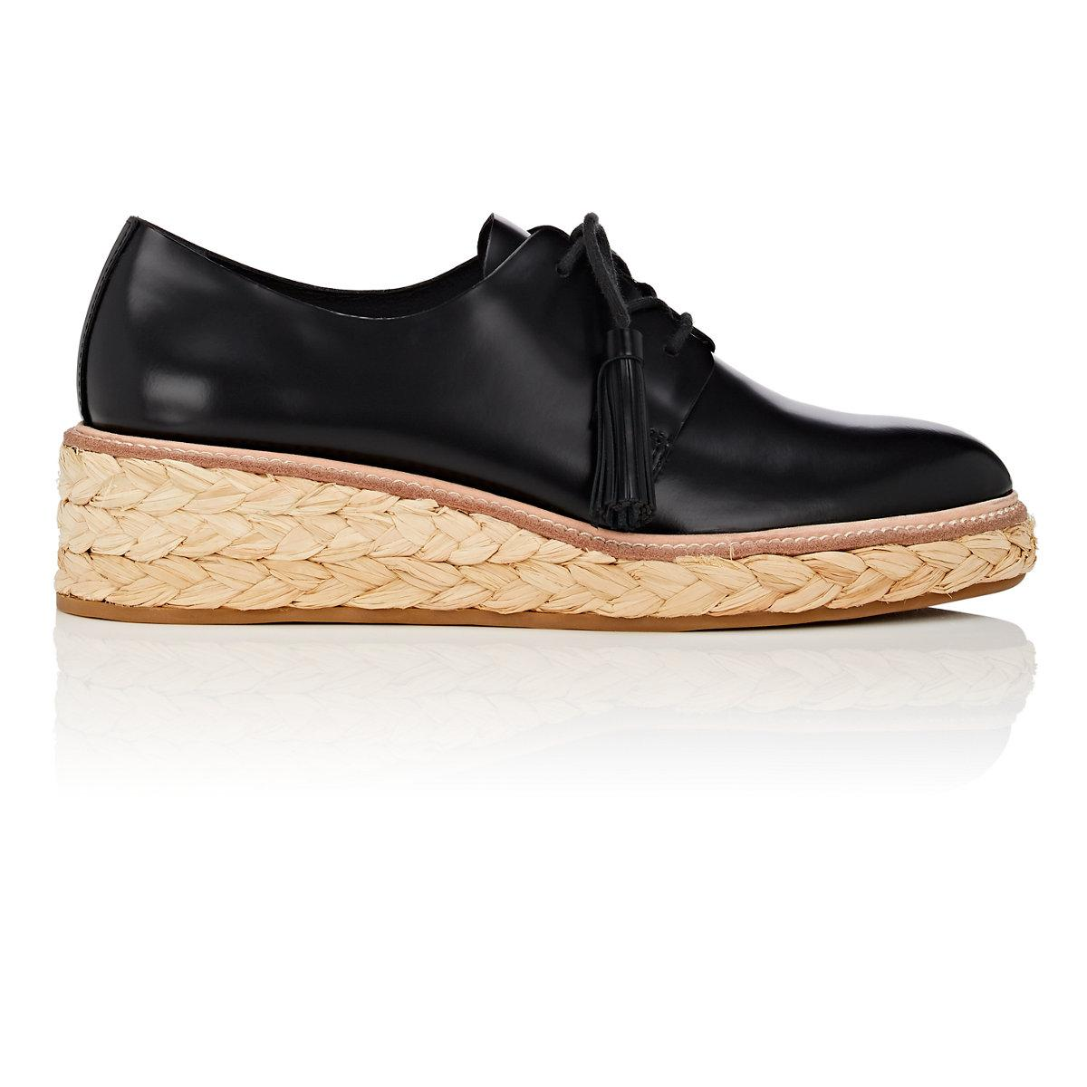 d5db4218c5a Loeffler Randall Black Callie Spazzolato Leather Espadrille Oxfords